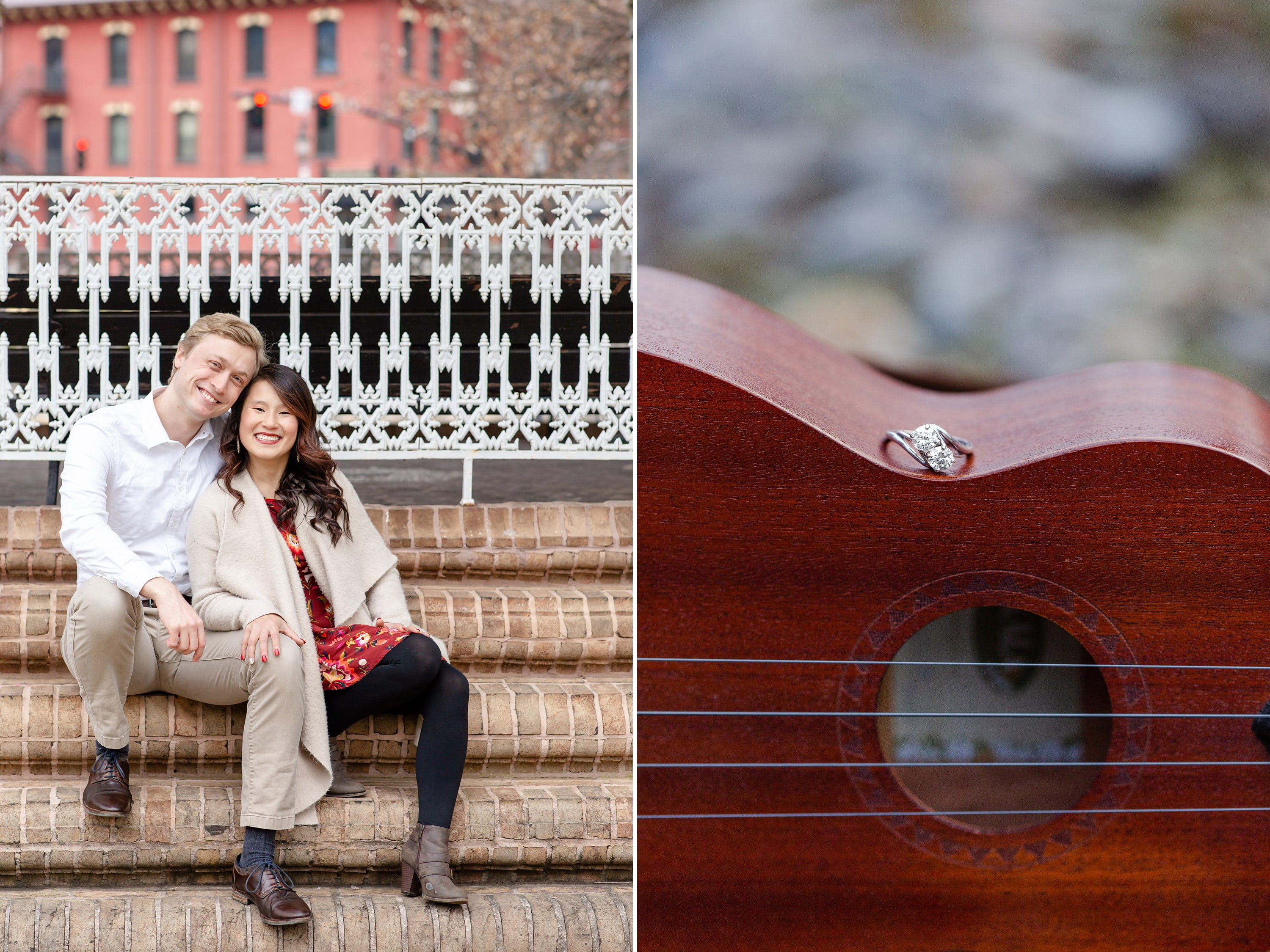 Engaged couple sitting on gazebo at Talleyrand Park in Bellefonte