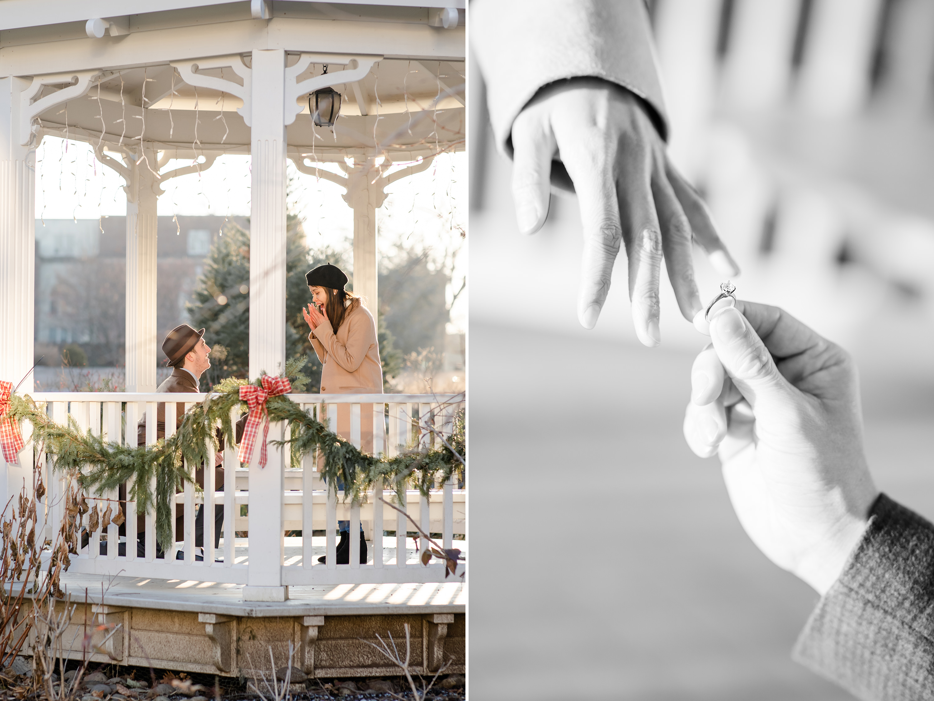 Proposal at the Hintz Alumni Garden gazebo