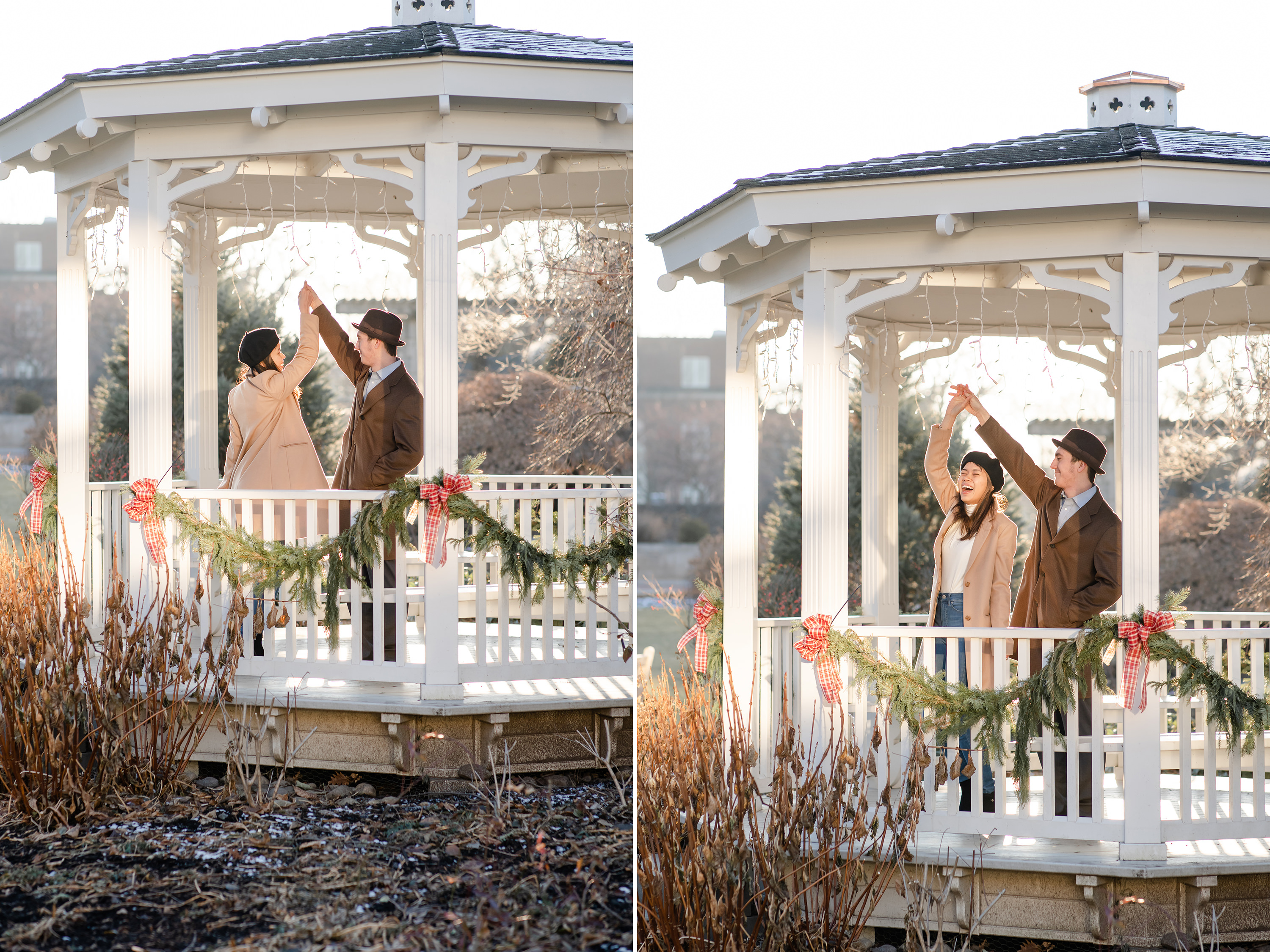 Couple twirling at the Hintz Alumni Garden gazebo