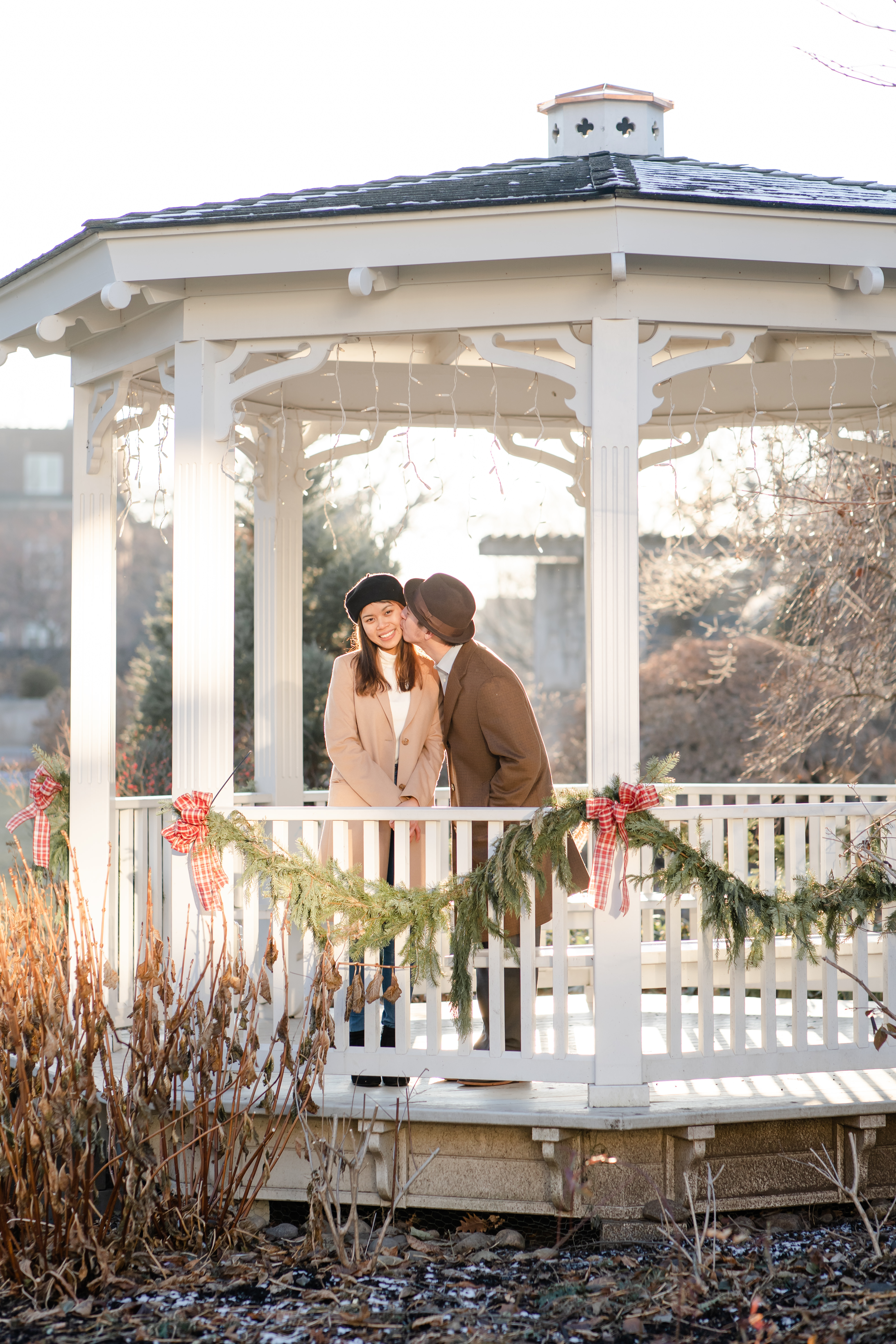 Lovers at the Hintz Alumni Garden gazebo