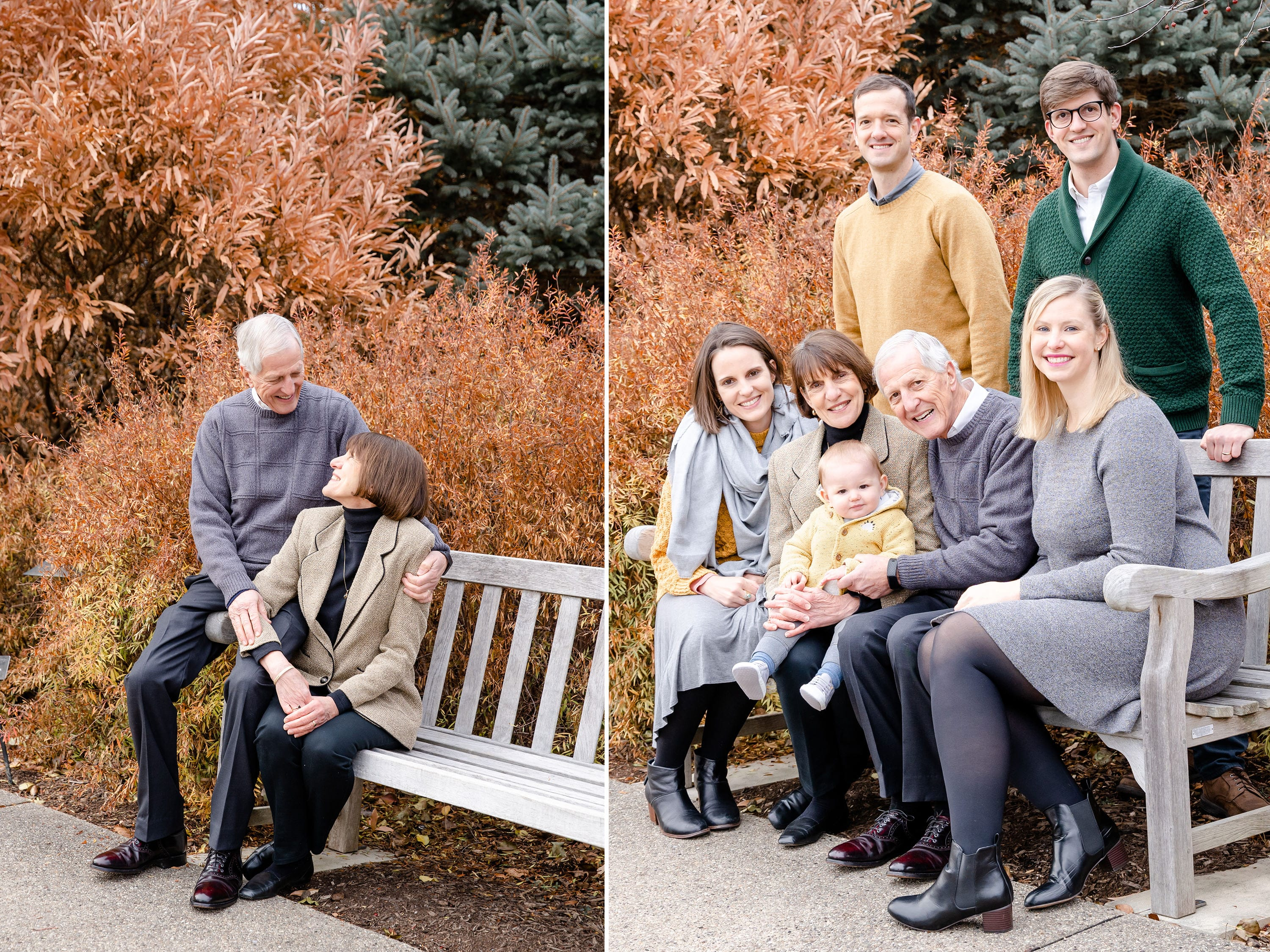 Family reunion for fall photo at Penn State arboretum