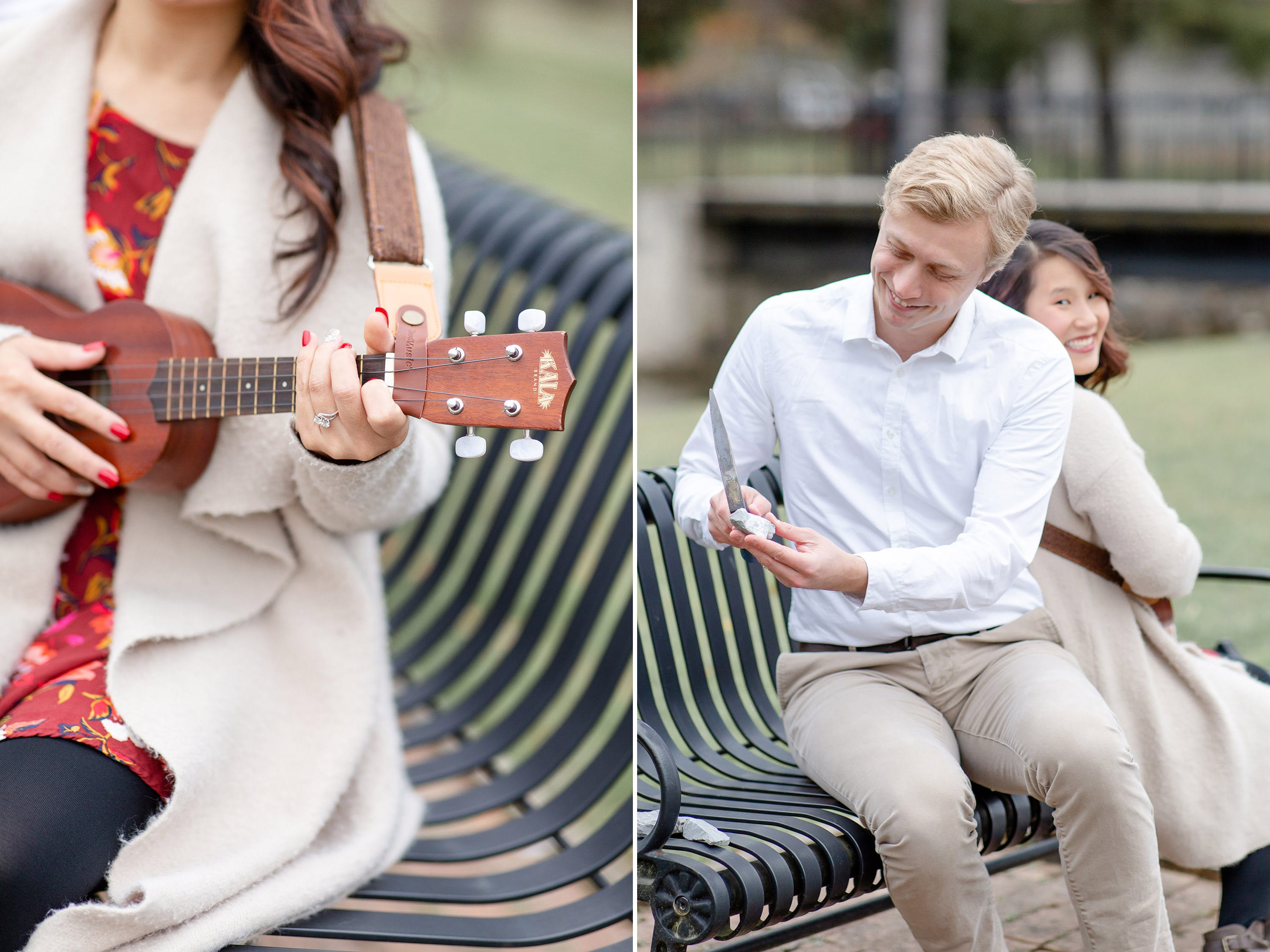 Engaged couple playing the ukulele at Talleyrand Park in Bellefonte