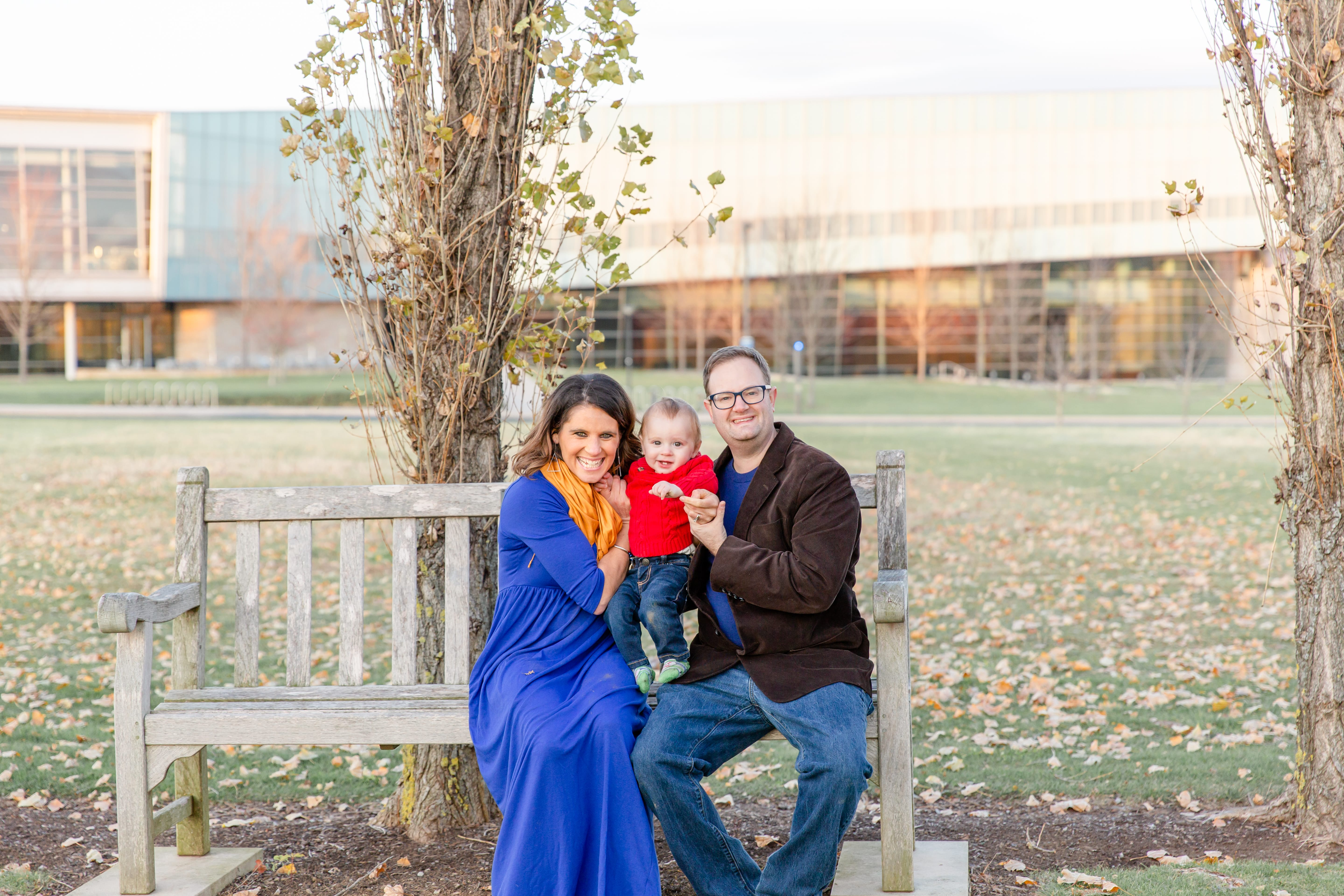 Fall family photo in State College at Penn State arboretum