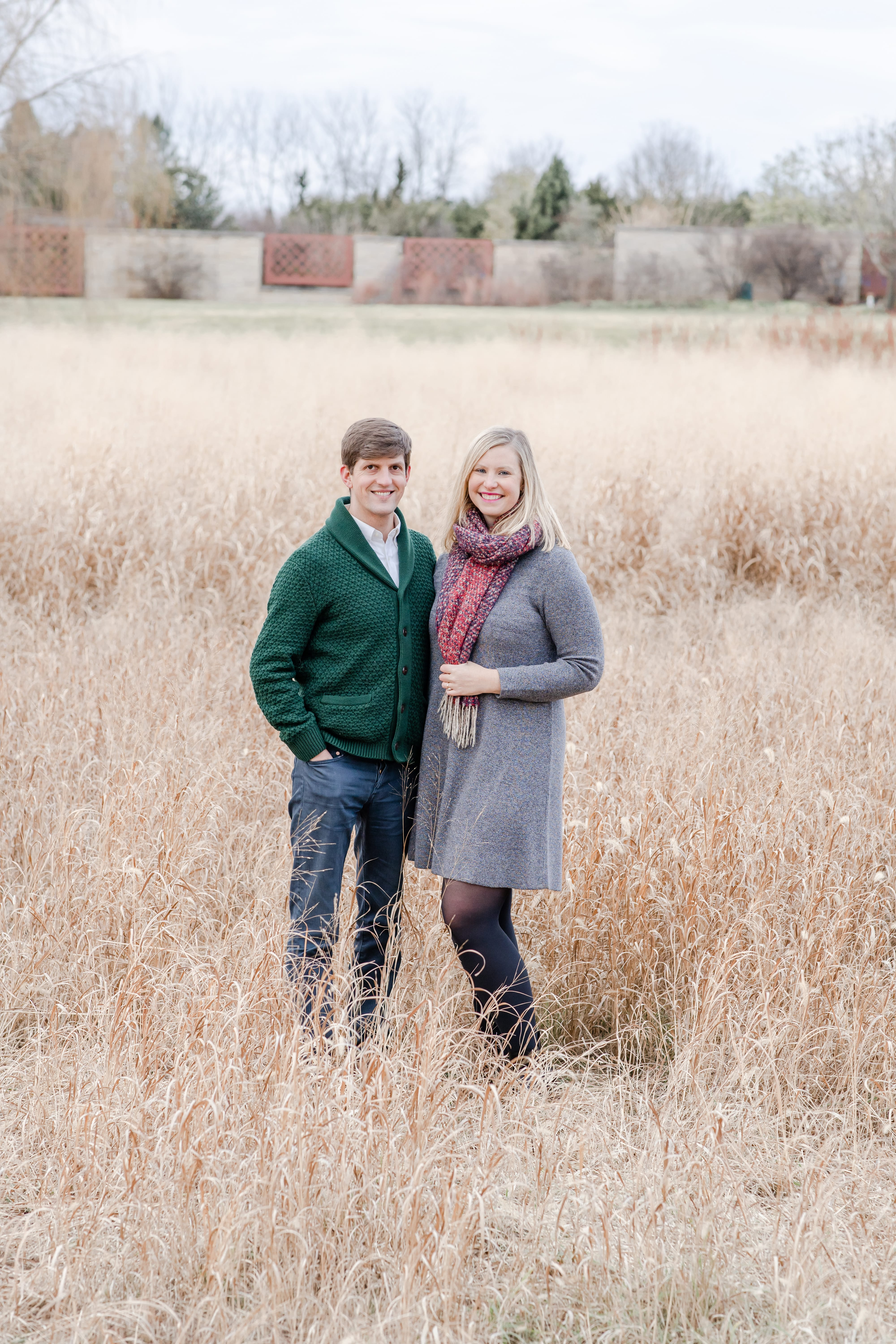Couple in love at Penn State arboretum during fall