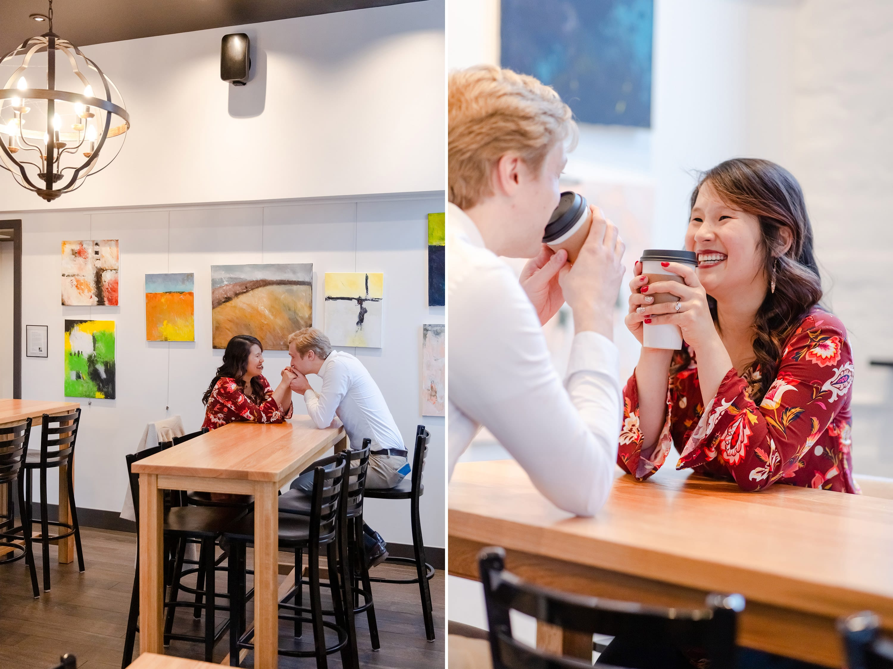 Engaged couple at Bonfatto's Cafe in Bellefonte