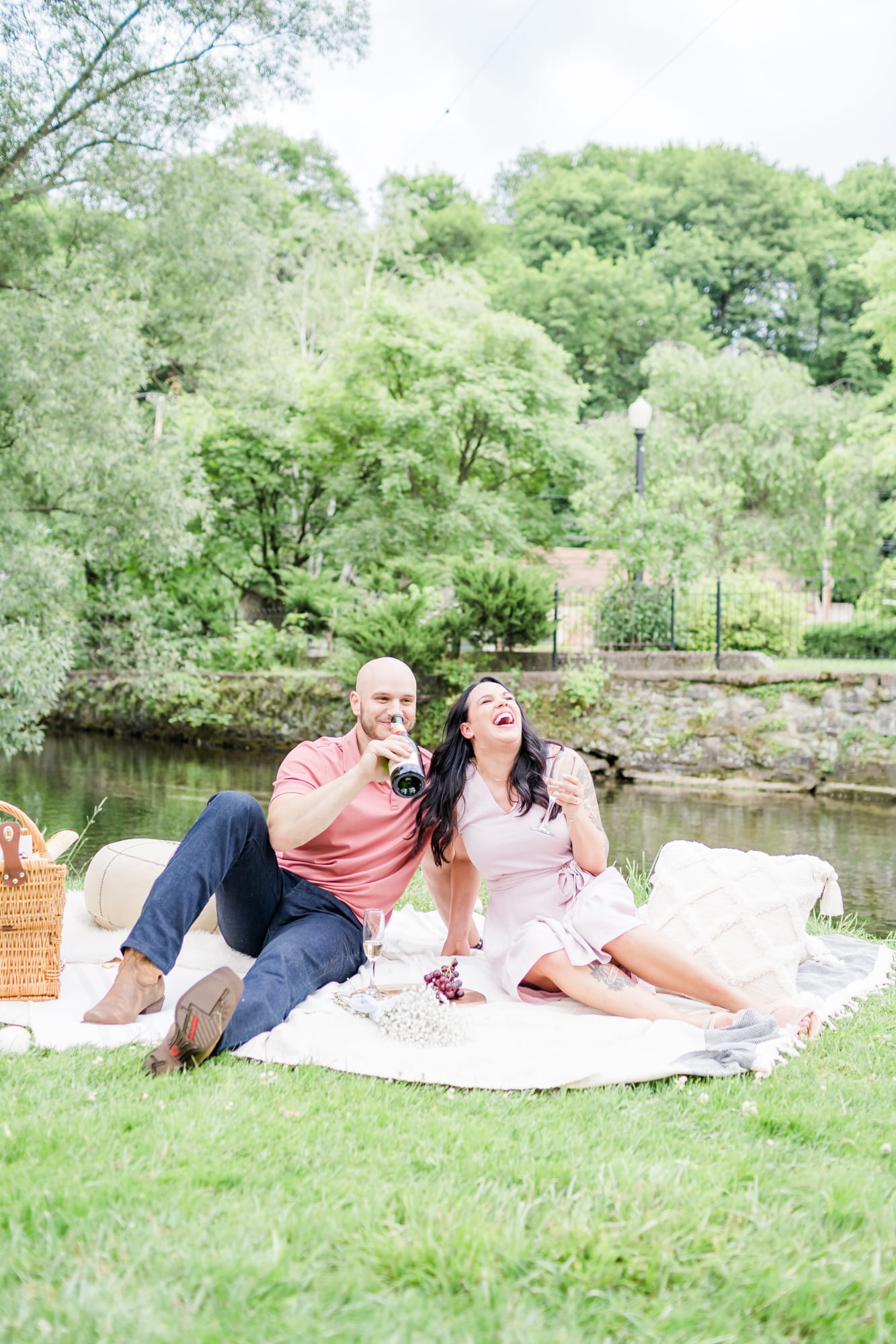 Engagement photos at Talleyrand Park featuring a picnic
