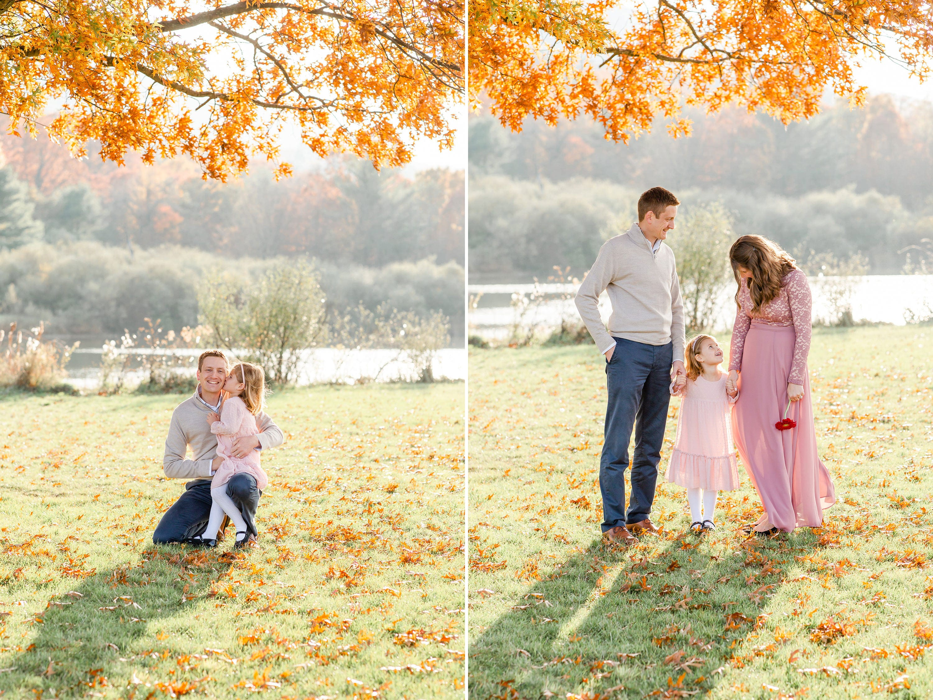 family fall photo in State College; daughter father; red tree
