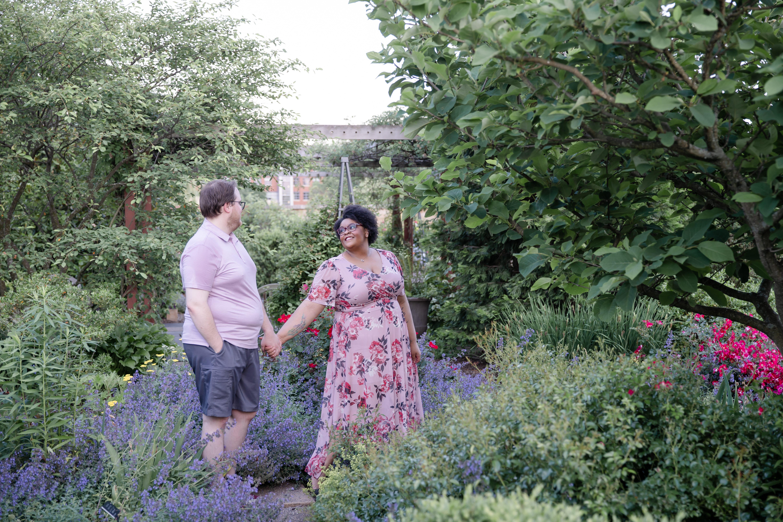 Engagement photo at Penn State arboretum
