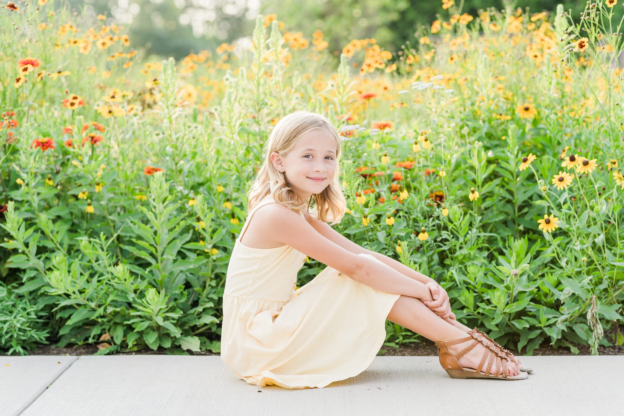 Family portraits at Penn State arboretum featuring pollinator garden