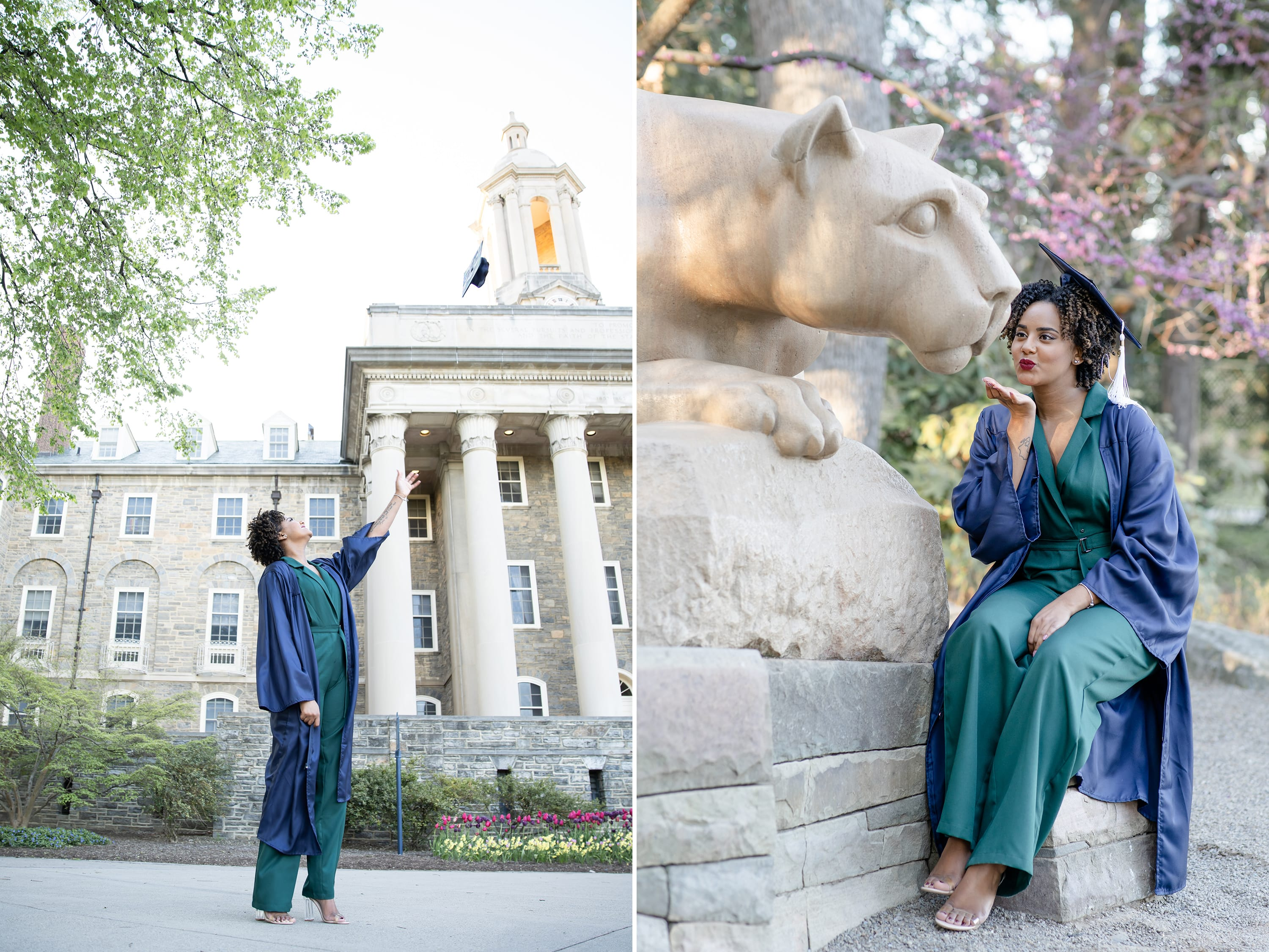 Class of 2020 Penn State graduate at Old Main and Nittany lion shrine