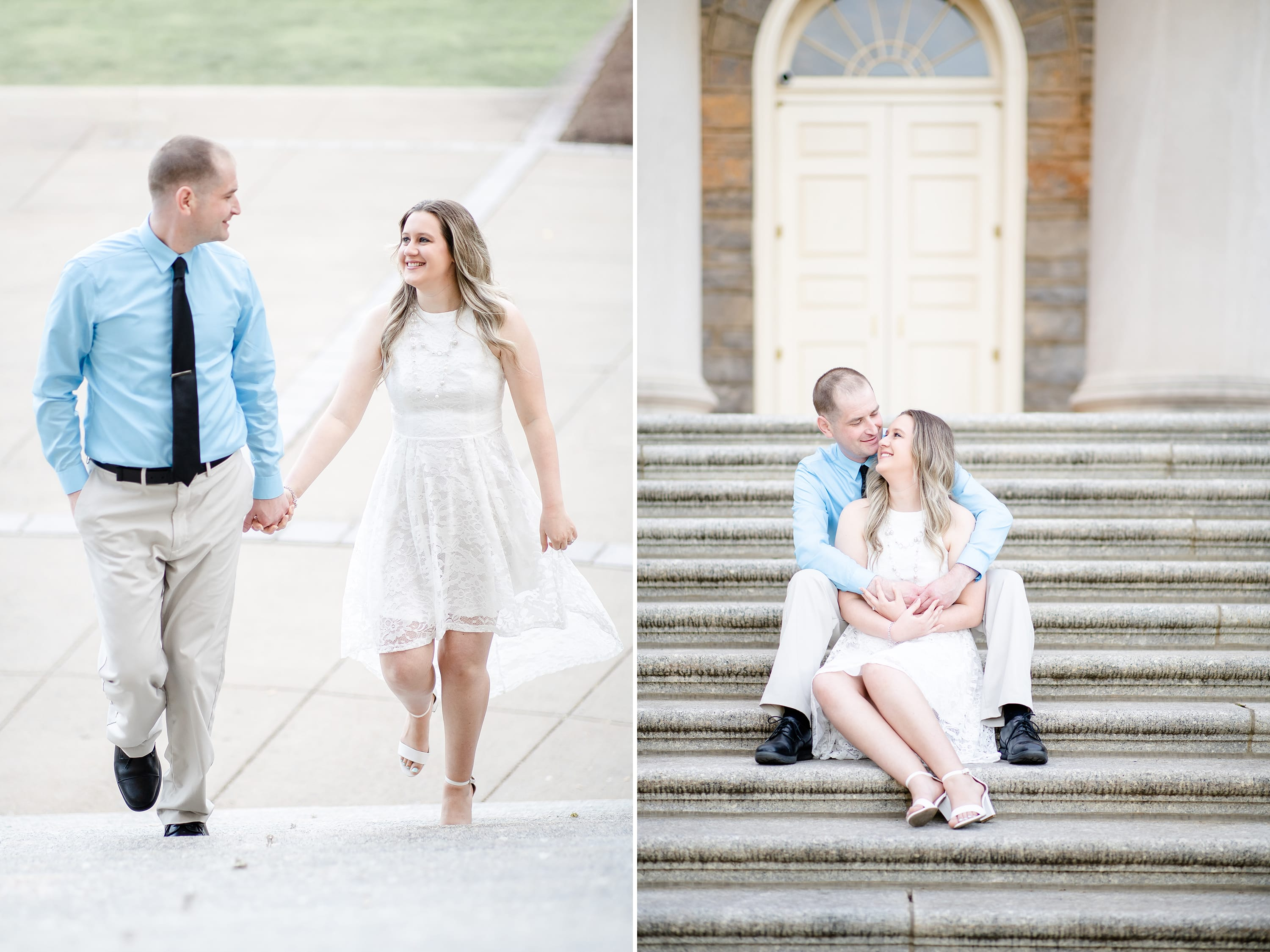 Engagement photo at Penn State Old Main steps