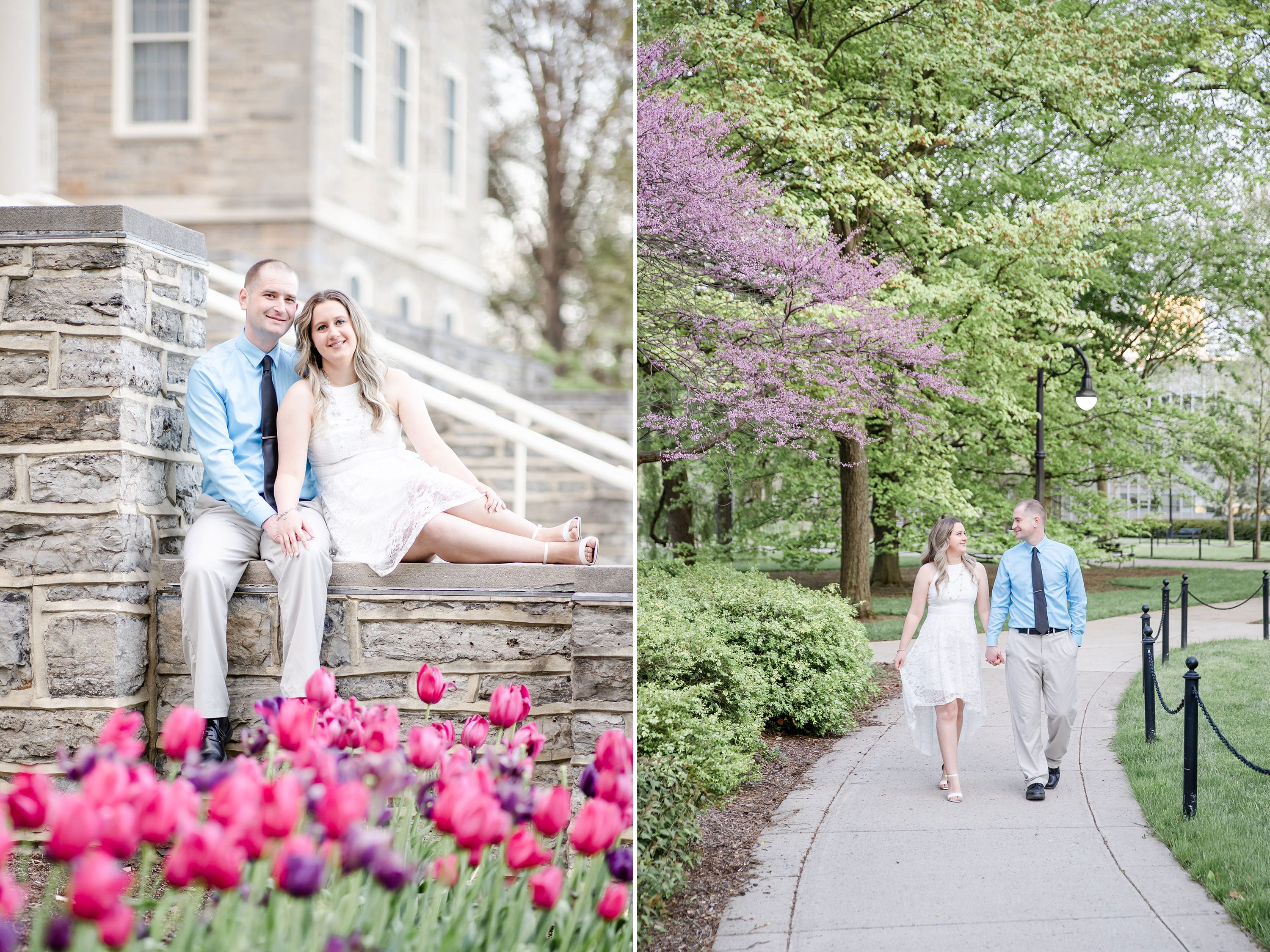 Engagement photo at Penn State Old Main