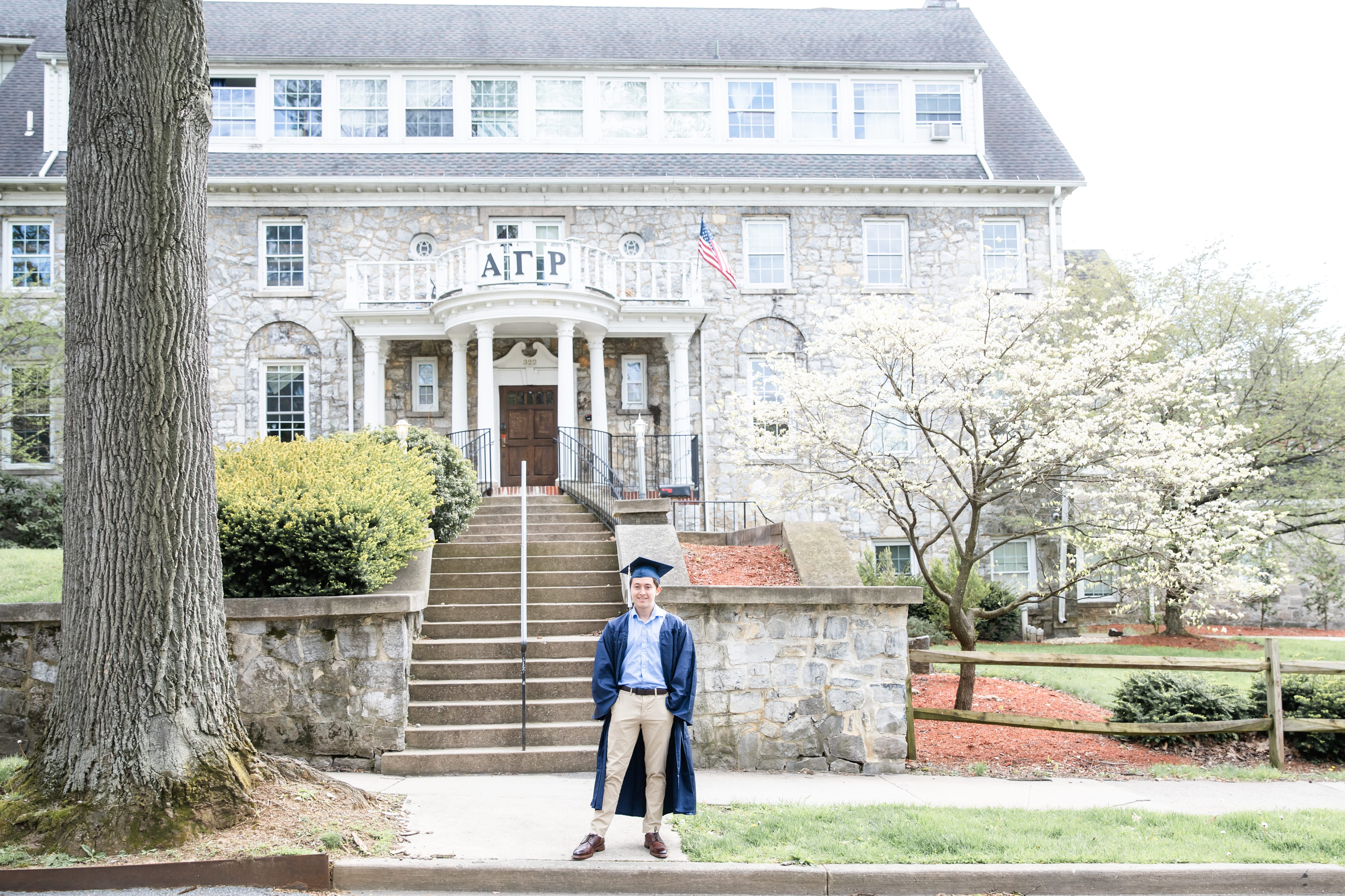 PSU Class of 2020 graduate at Penn State fraternity Alpha Gamma Rho