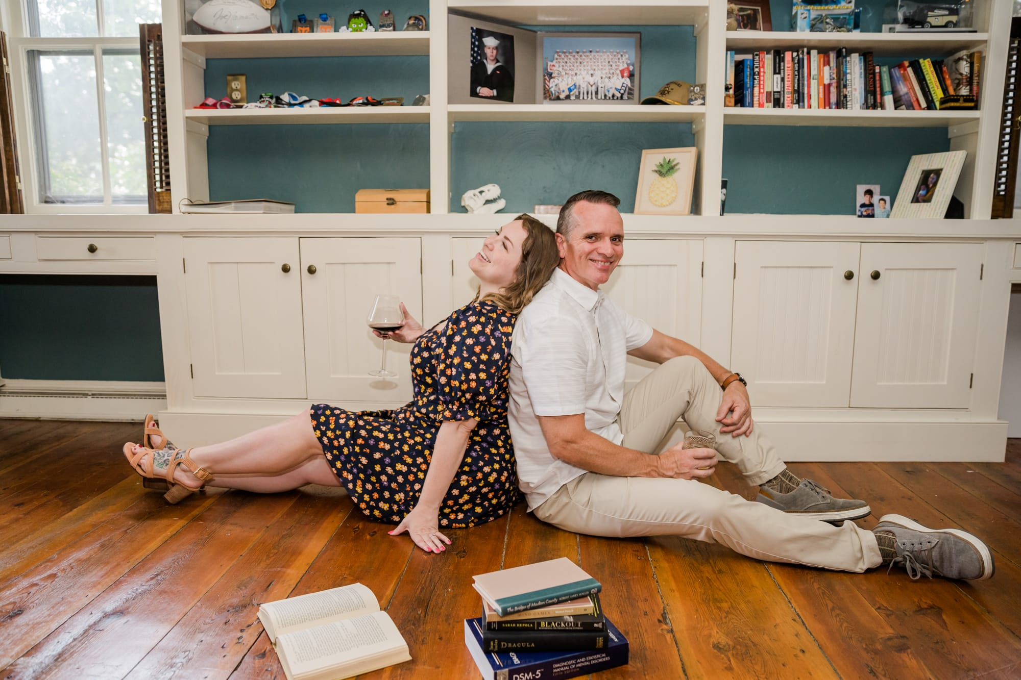 In-home lifestyle engagement photos featuring home library