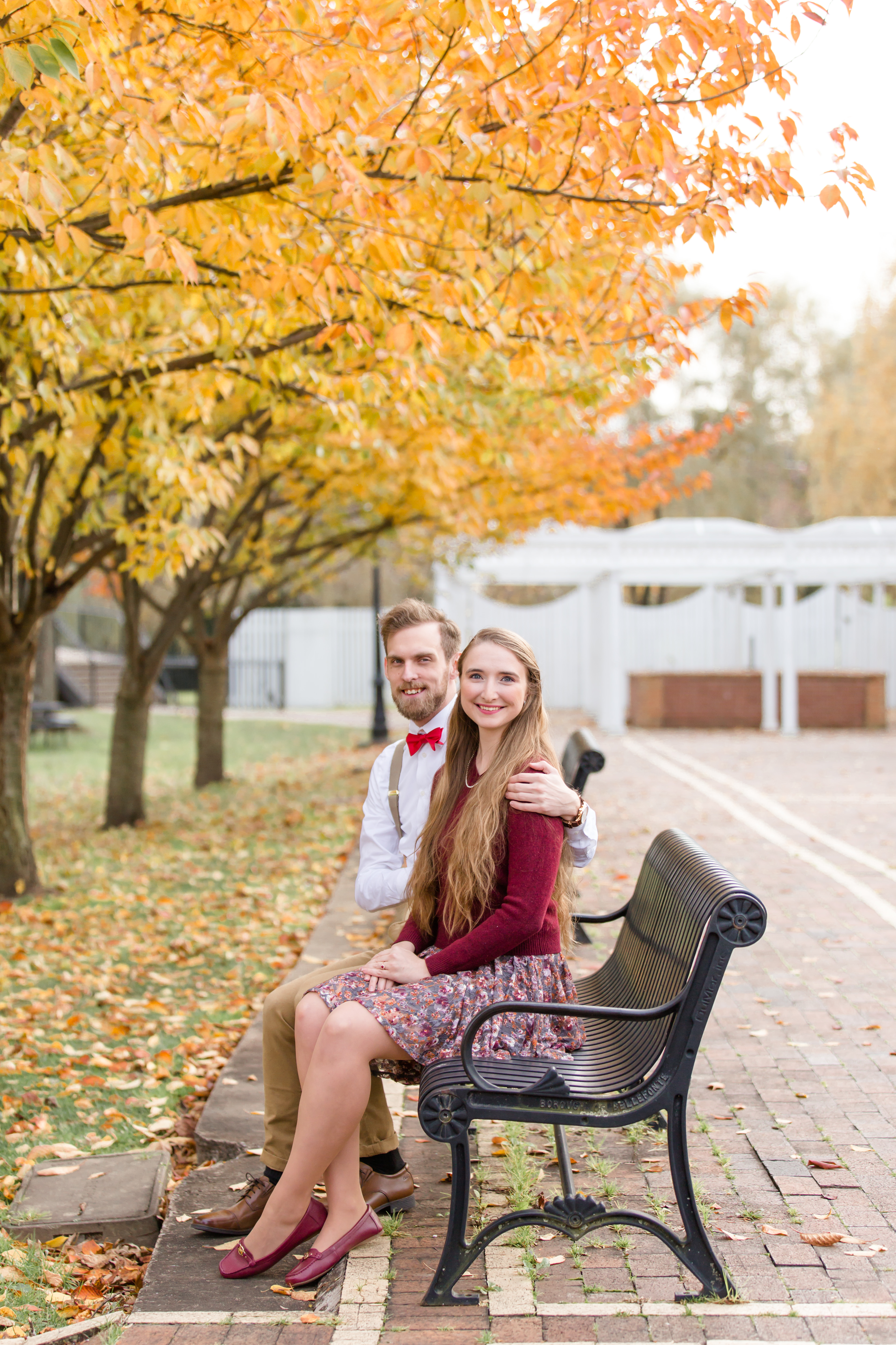 Fall engagement photos at Talleyrand Park in Victorian Bellefonte central Pennsylvania