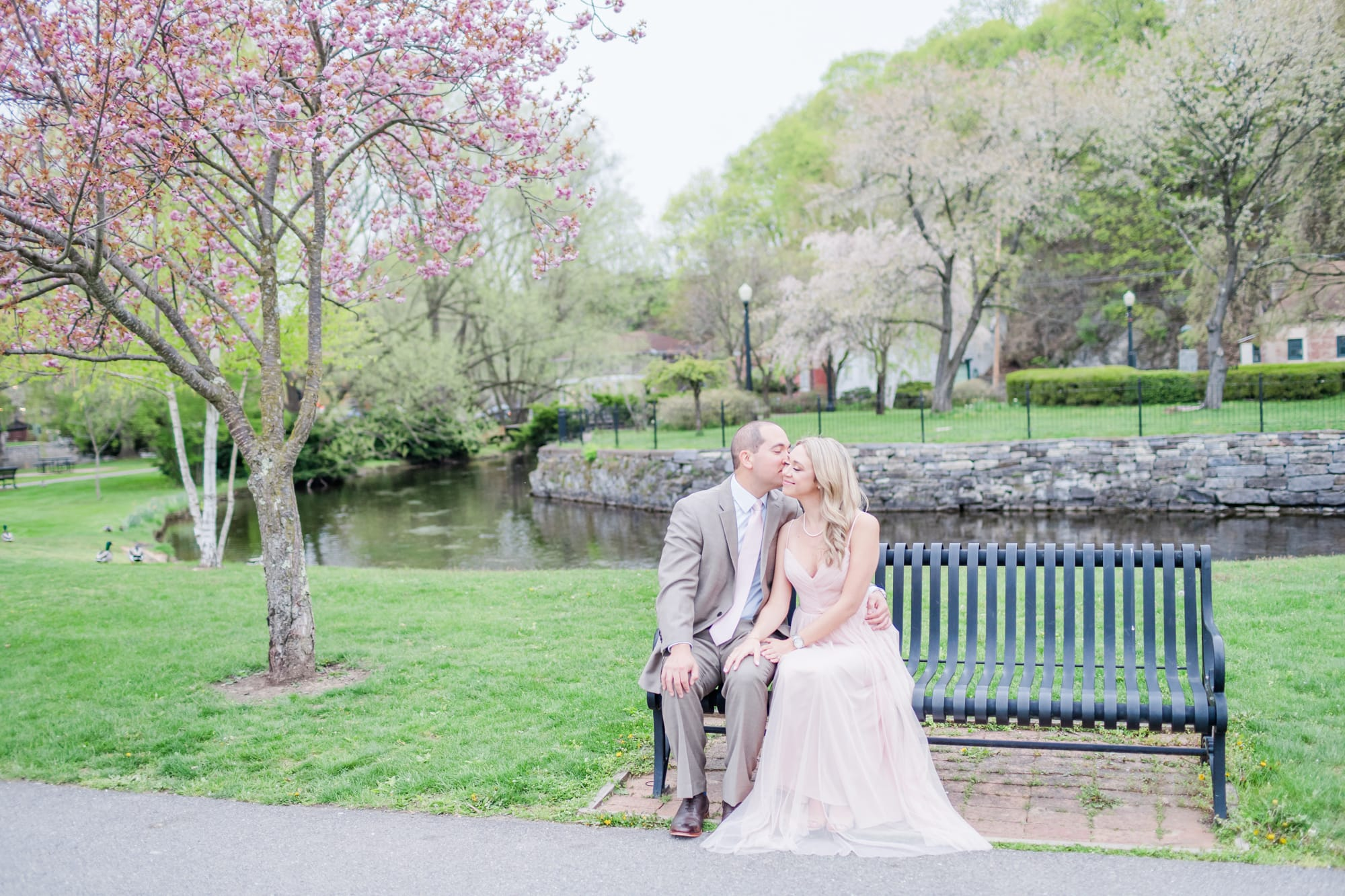 Engagement photos at Talleyrand Park with cherry blossoms