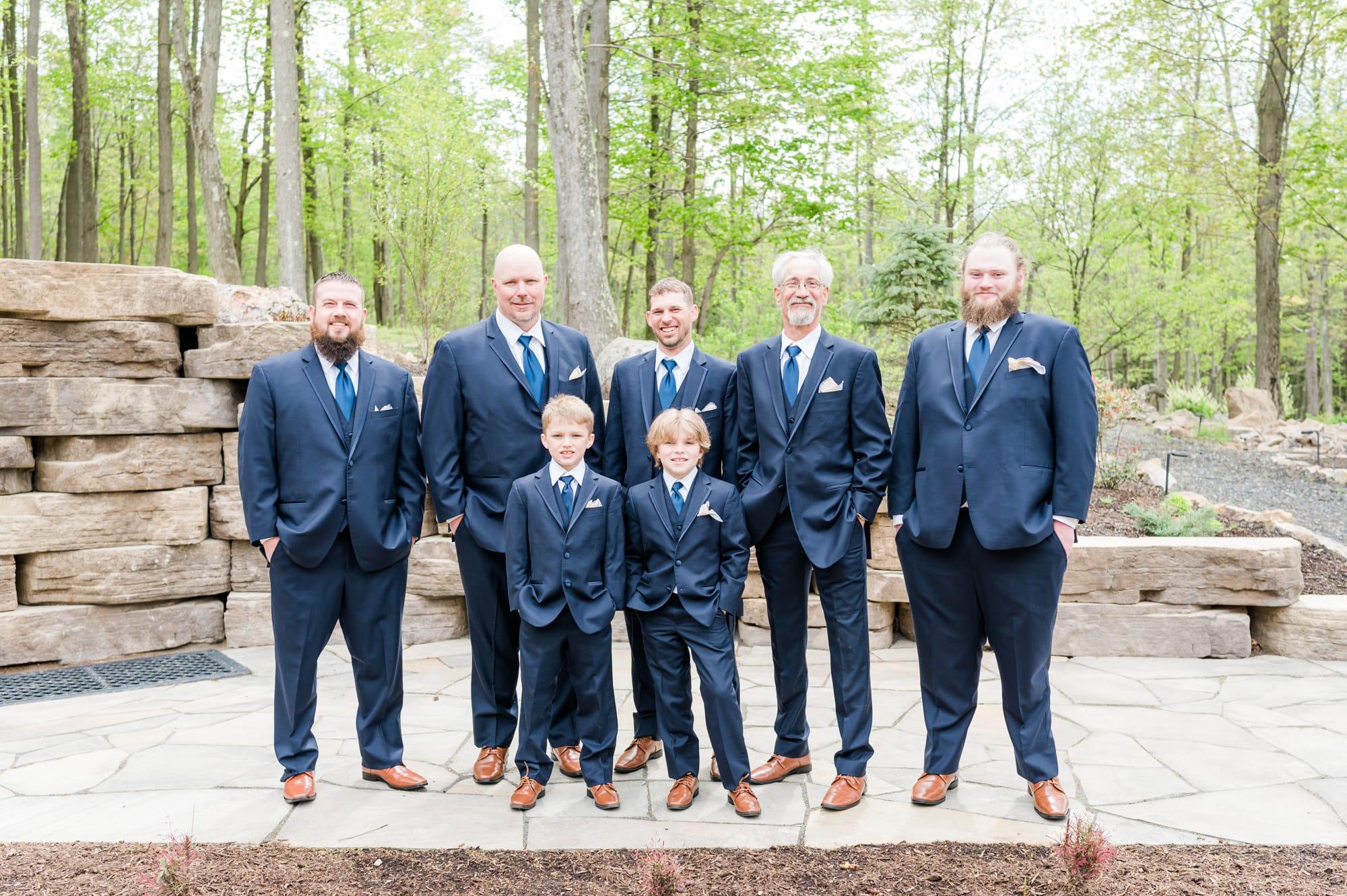 Bridal party portrait at Rolling Rails Lodge wedding