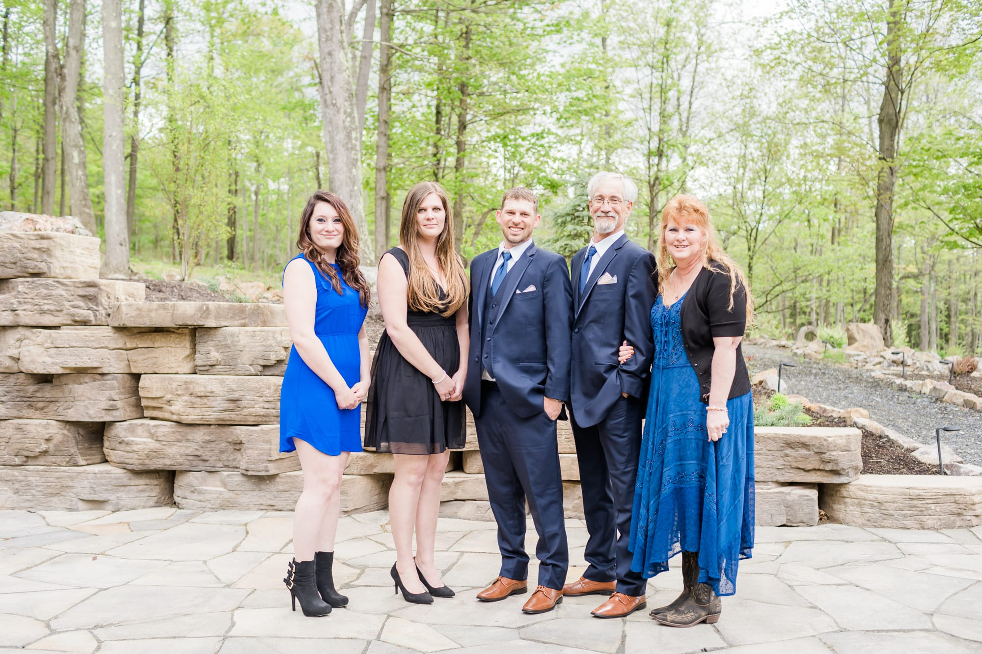 Groom and family at Rolling Rails Lodge wedding
