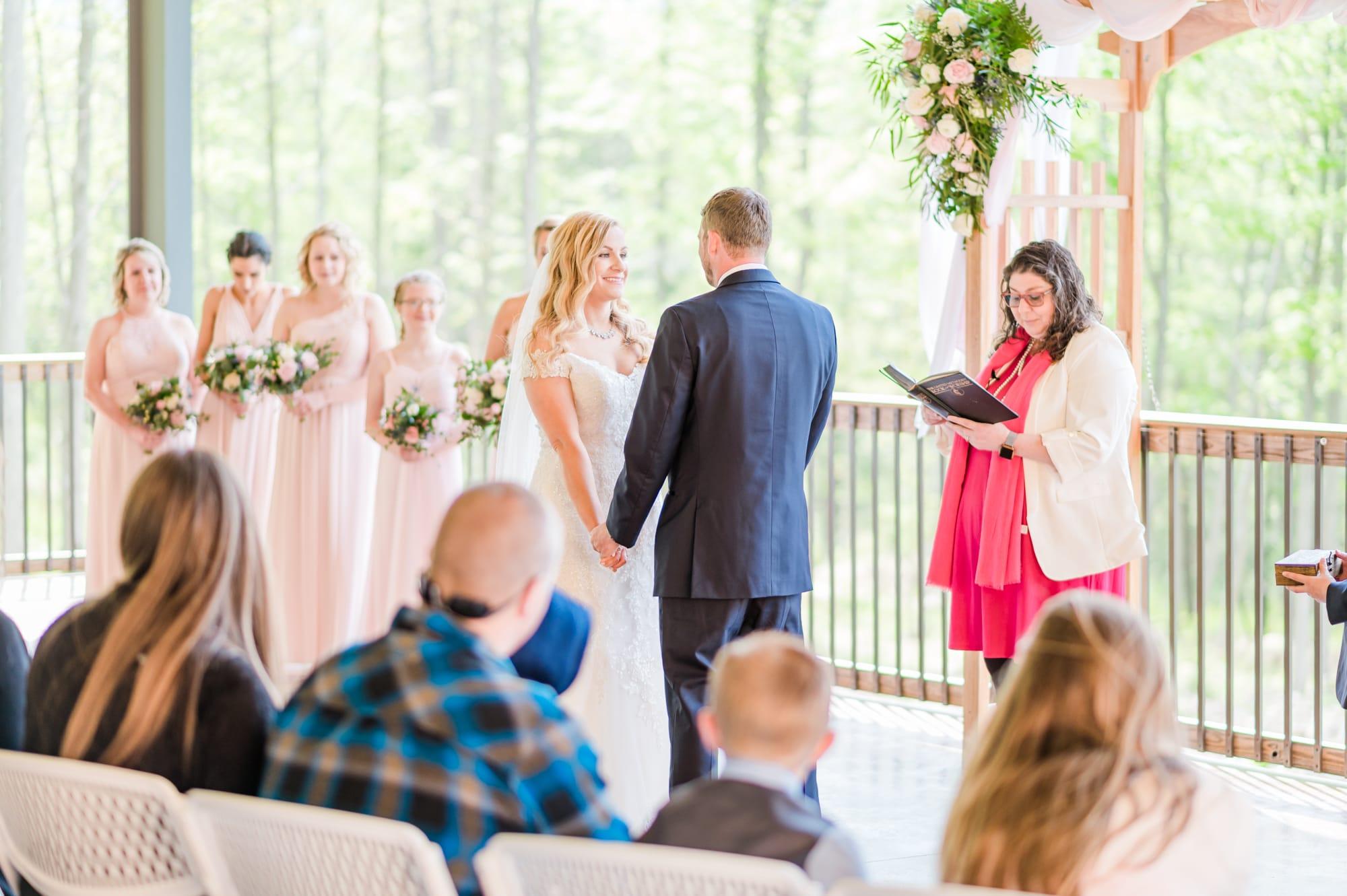 Ceremony at Rolling Rails Lodge wedding