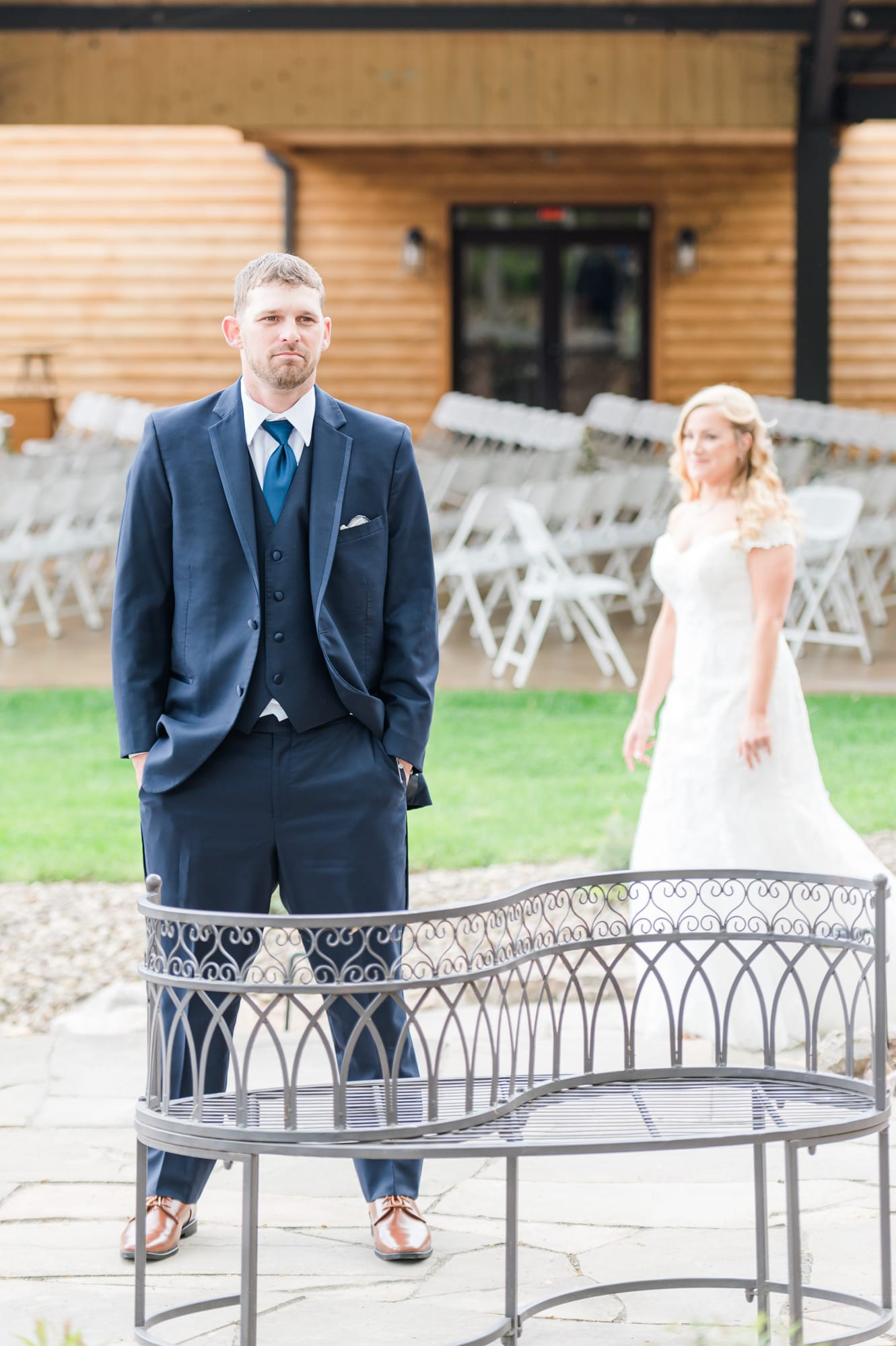 Bride and groom first look at Rolling Rails Lodge wedding