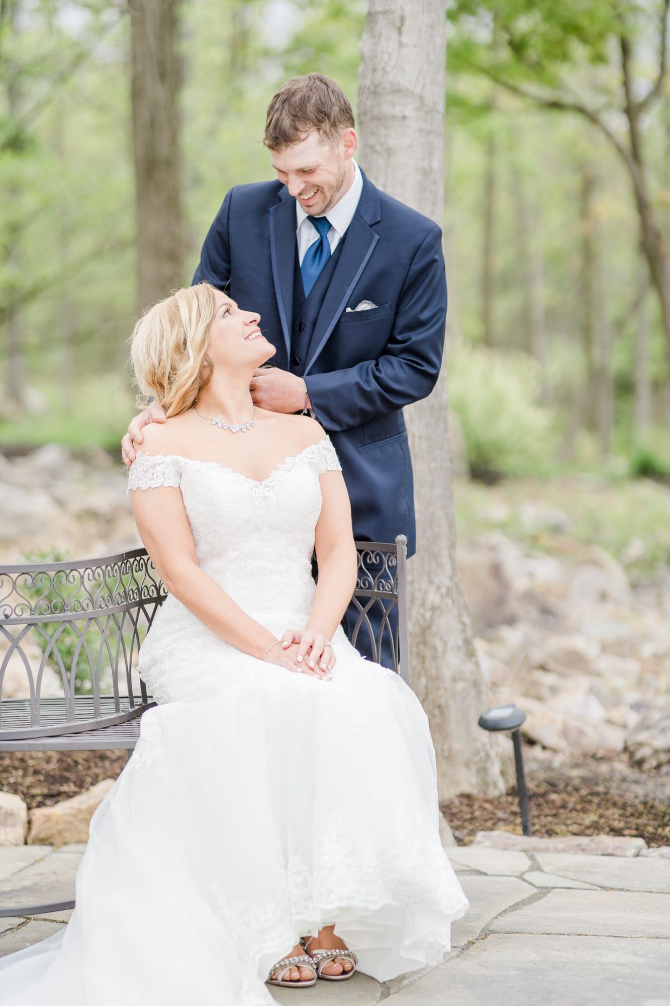 Bride and groom portrait at Rolling Rails Lodge wedding