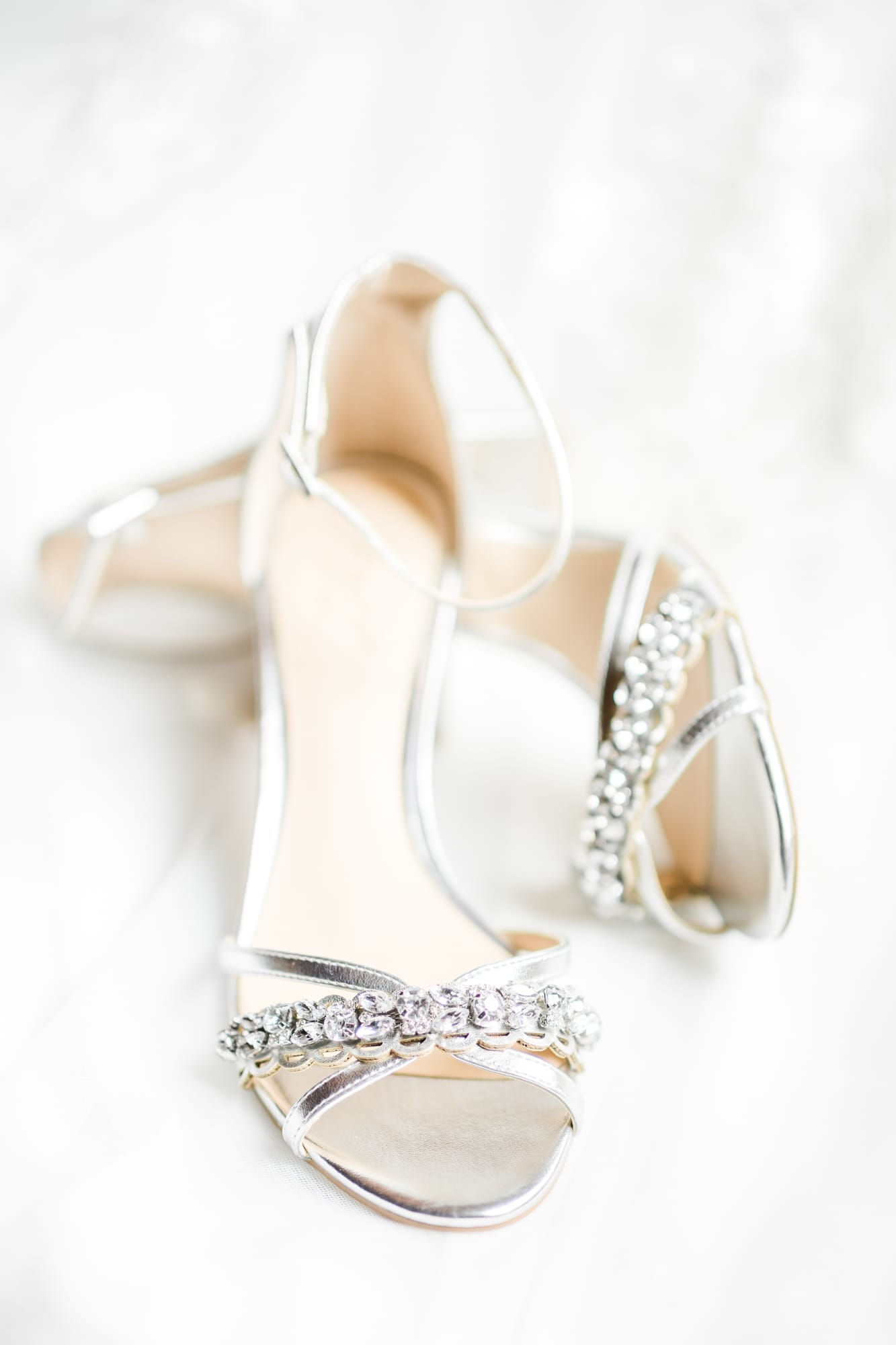 Bridal shoes at Rolling Rails Lodge wedding
