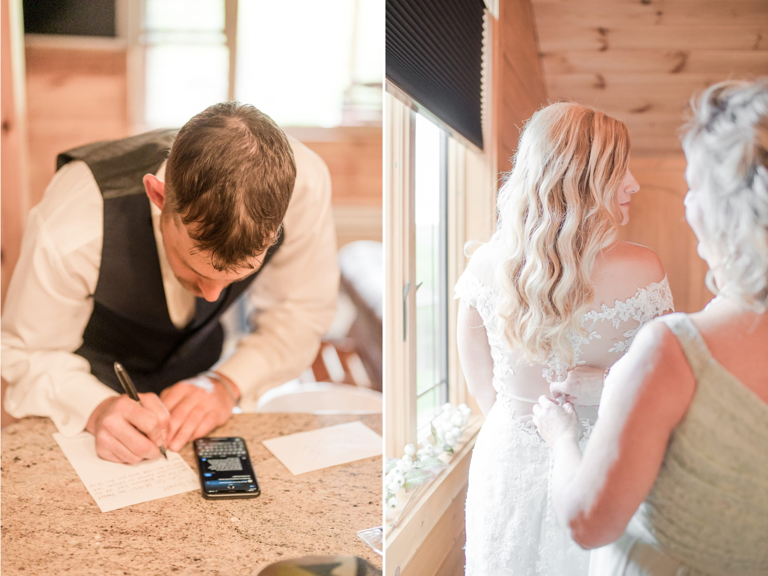 Groom writing a note for his bride at Rolling Rails Lodge wedding