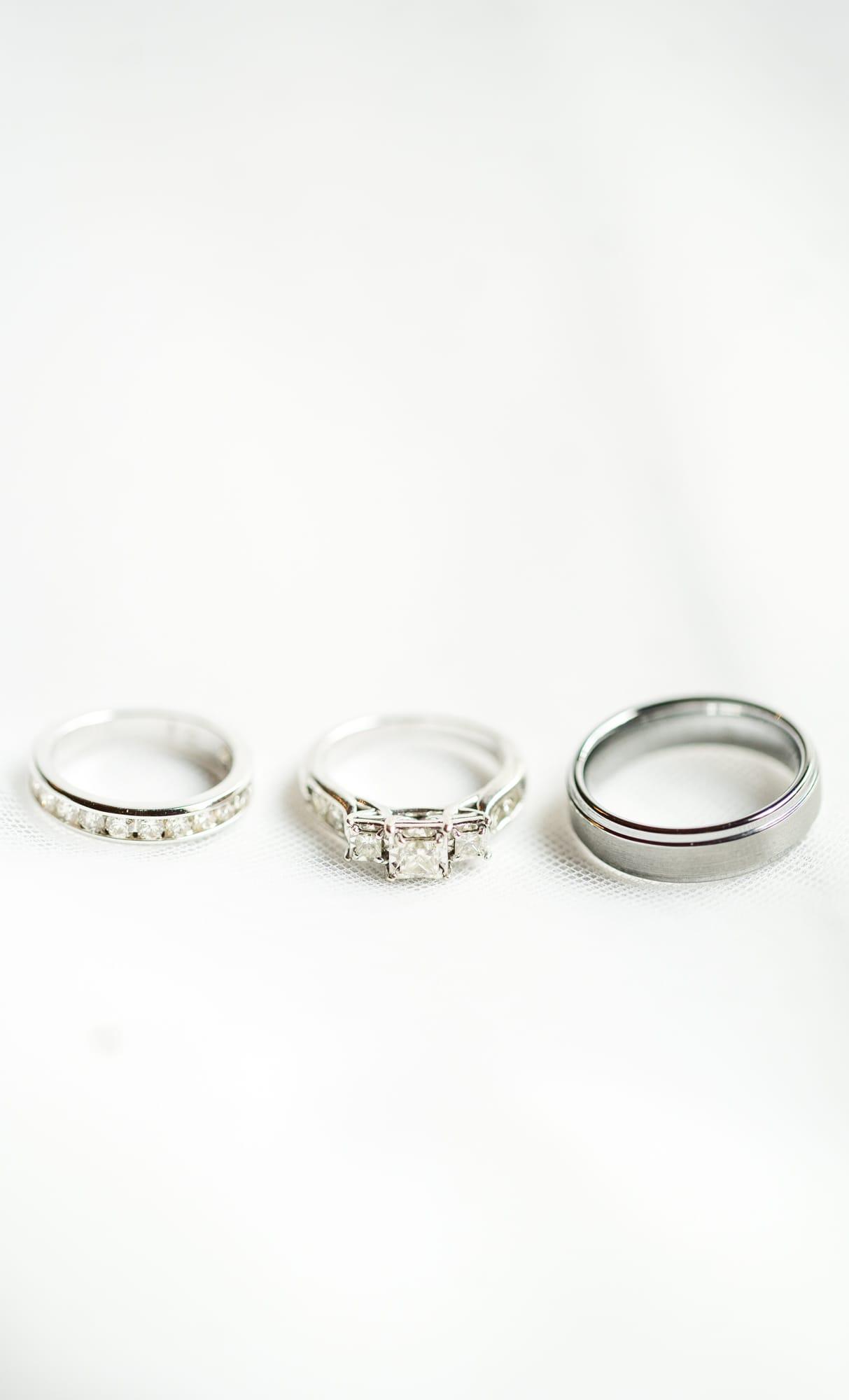 Rings shot at Rolling Rails Lodge wedding
