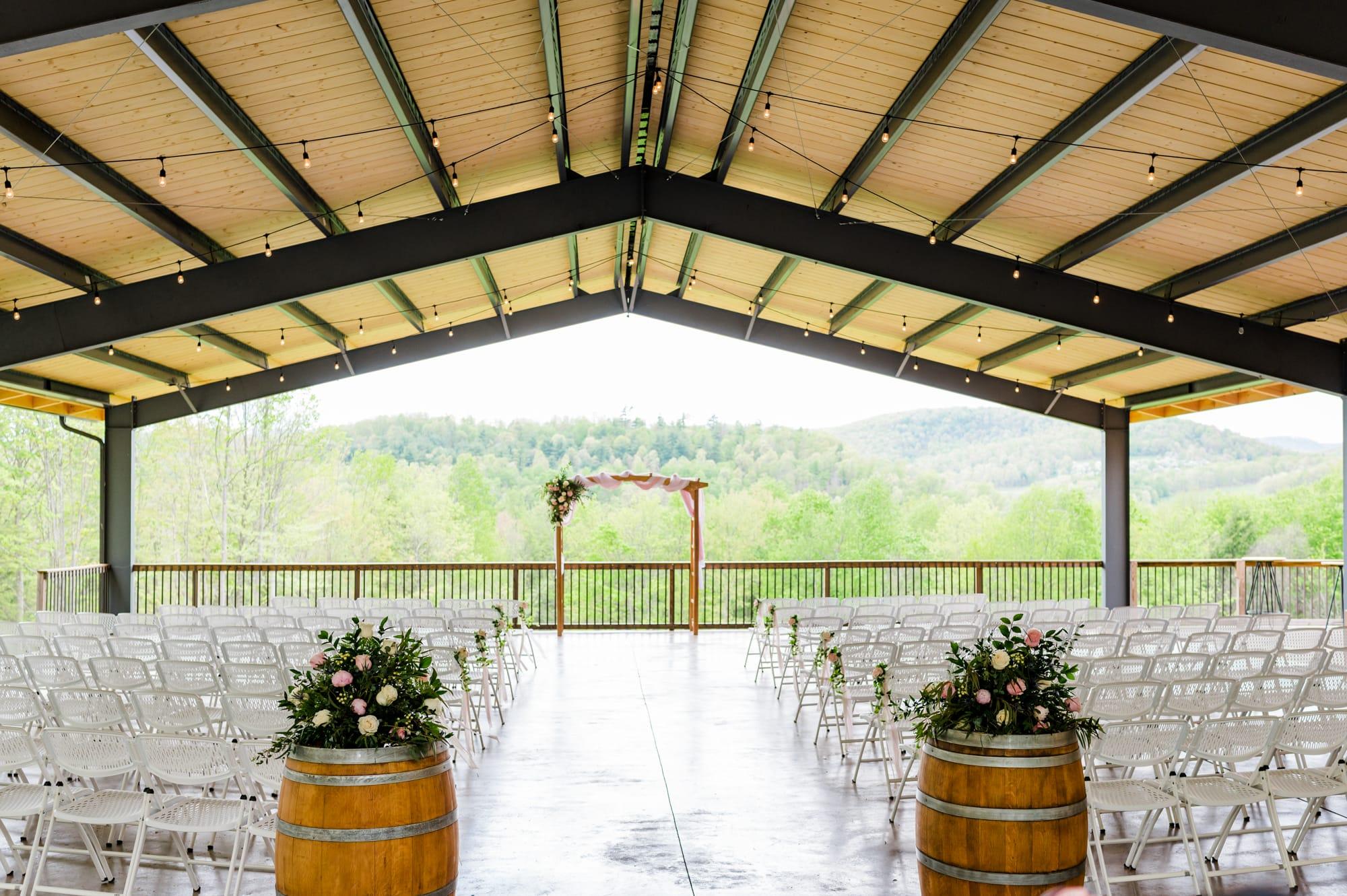 Ceremony decor at Rolling Rails Lodge wedding