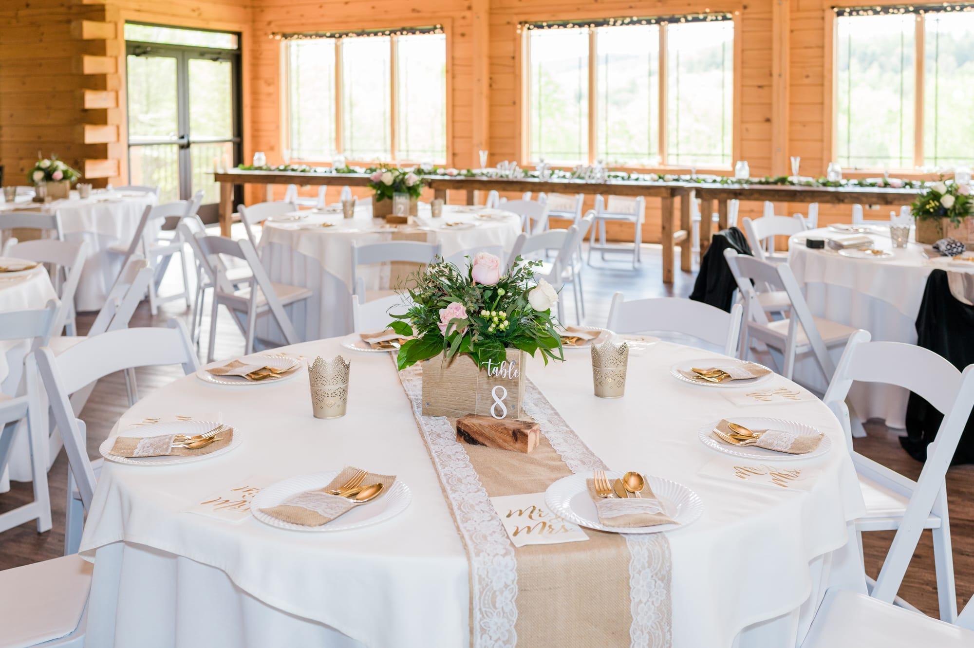 Reception decoration at Rolling Rails Lodge wedding