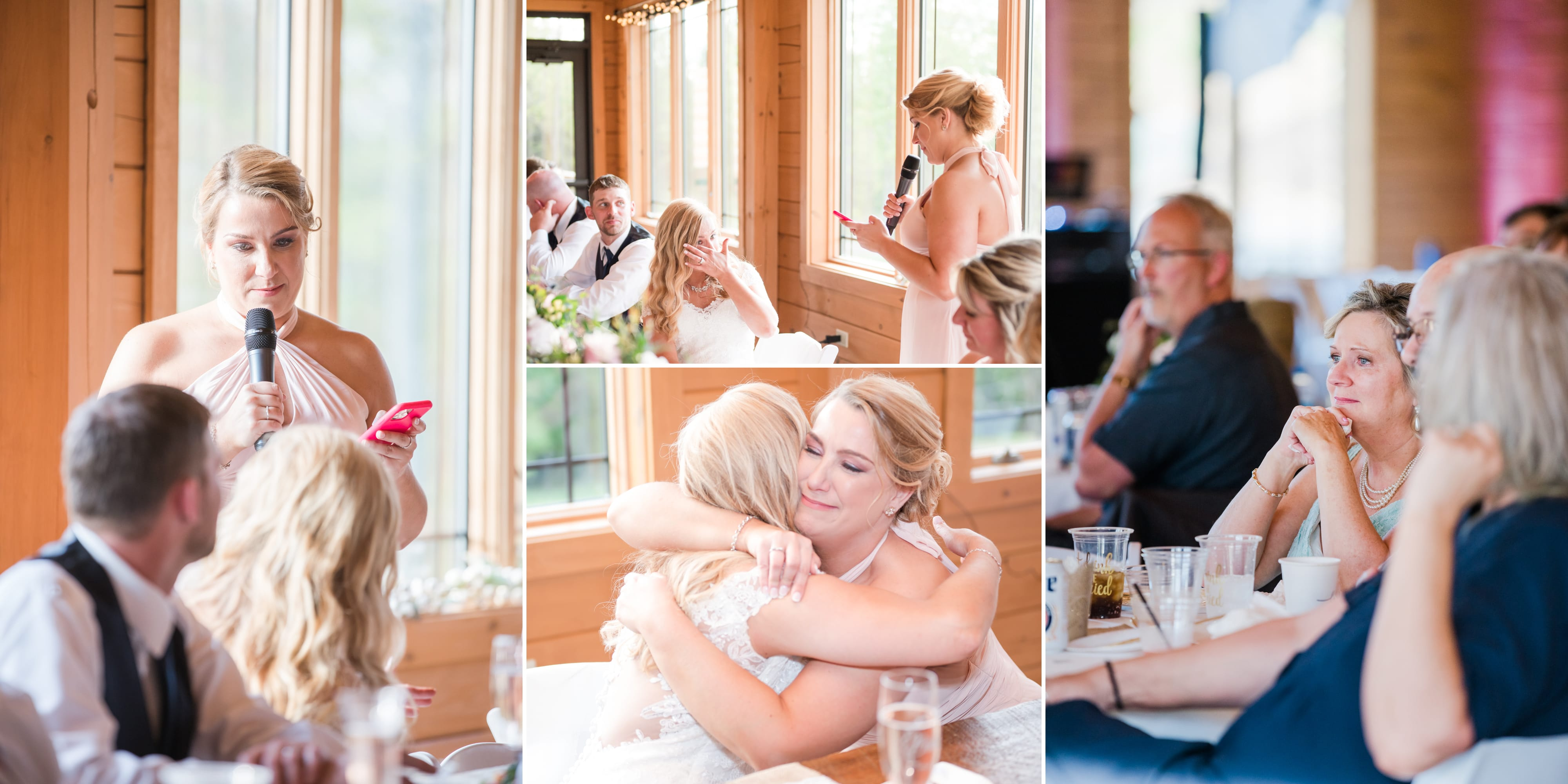 Wedding toast at Rolling Rails Lodge reception