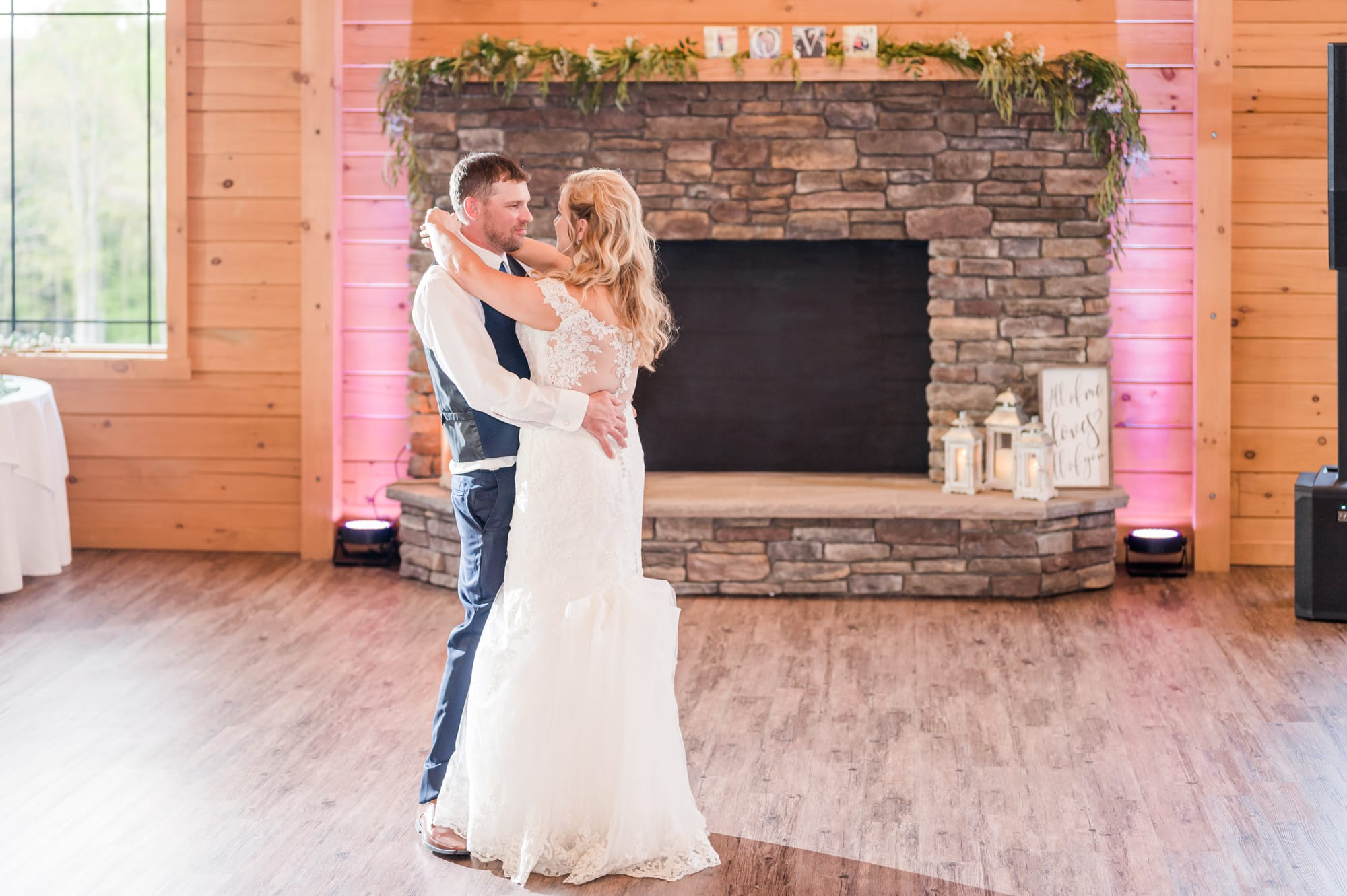 First dance at Rolling Rails Lodge reception