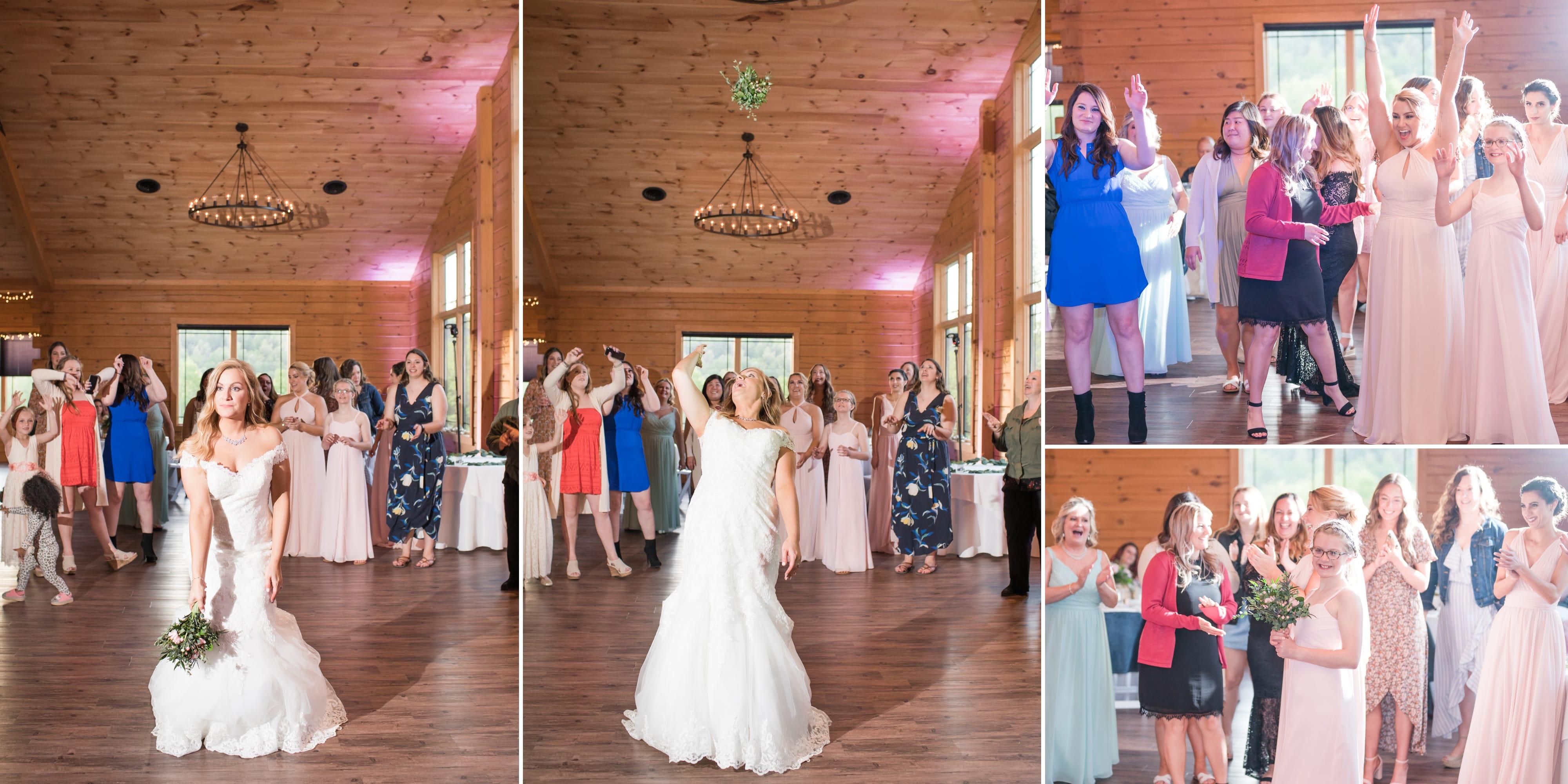 Bouquet toss at Rolling Rails Lodge wedding reception