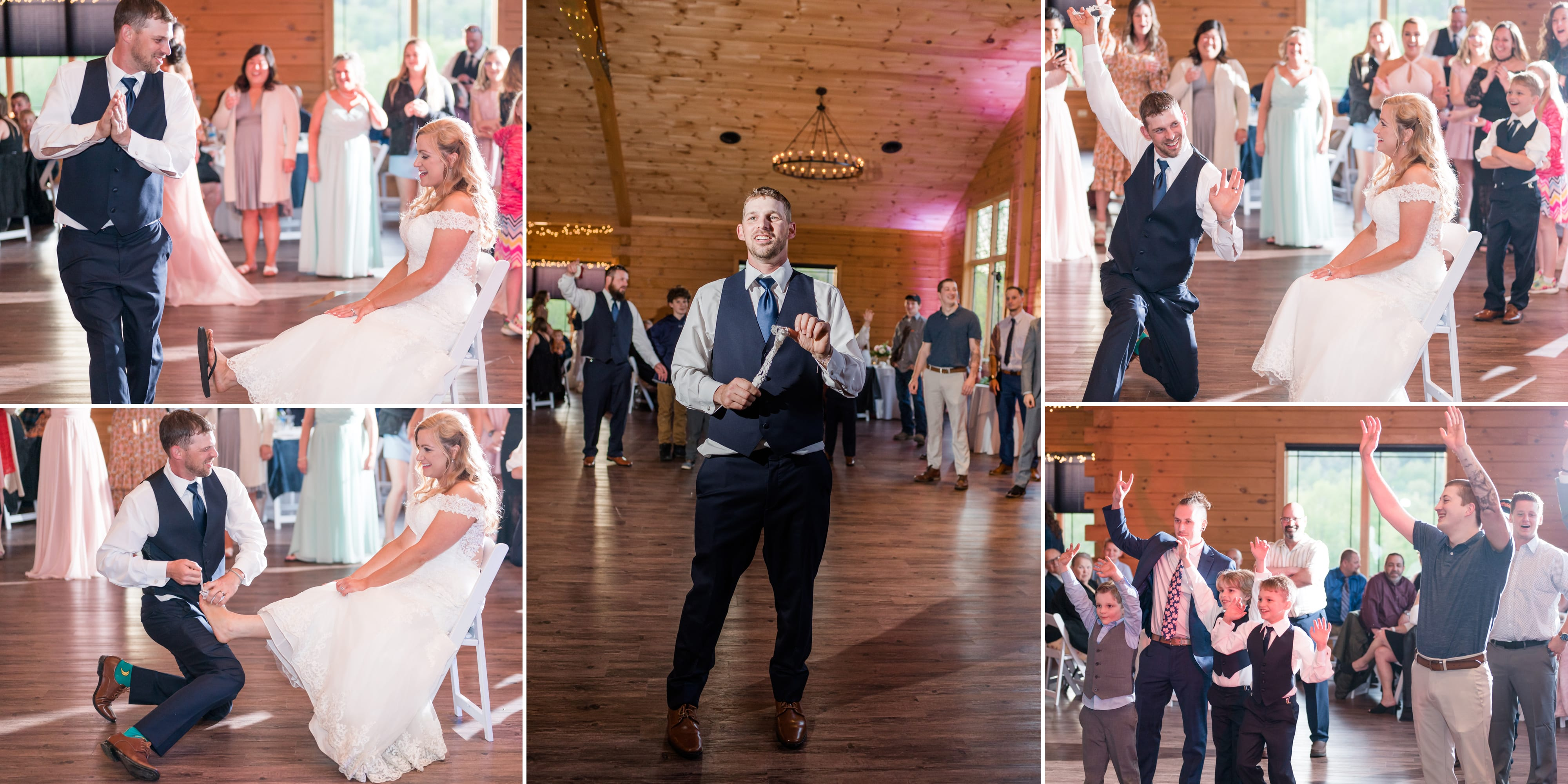 Garter toss at Rolling Rails Lodge wedding reception