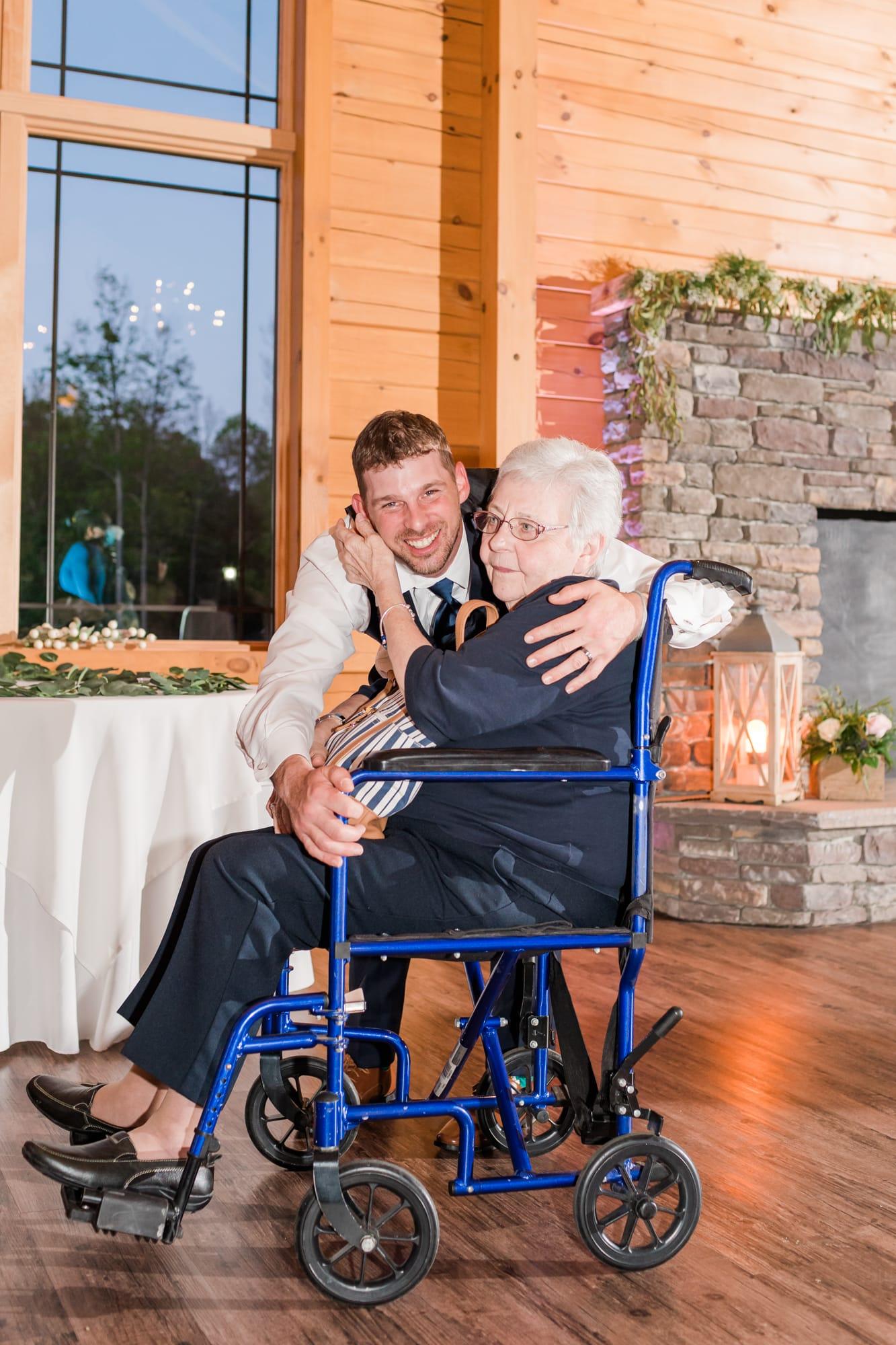 Groom and grandma at Rolling Rails Lodge wedding reception