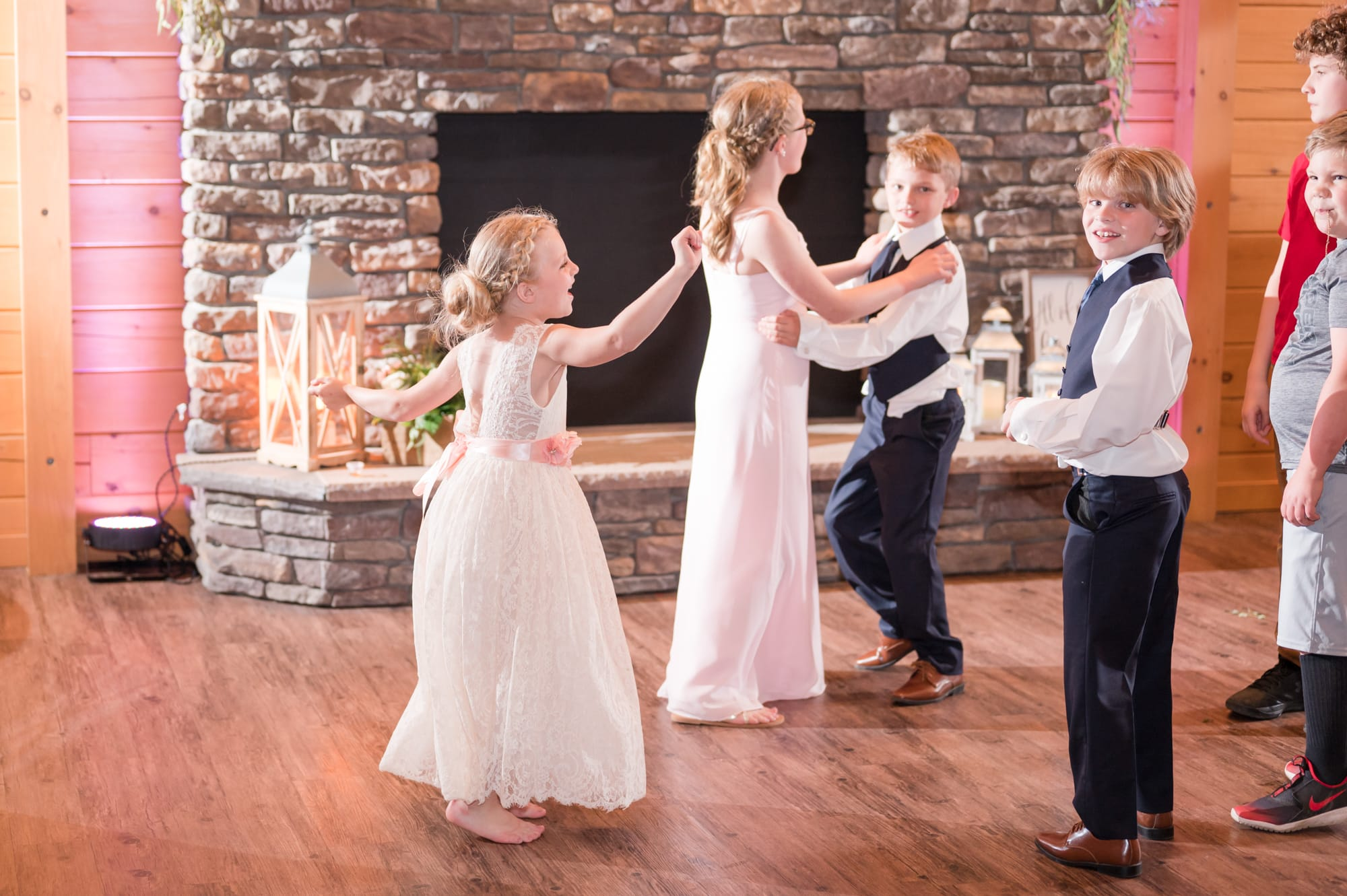 Guests dancing at Rolling Rails Lodge wedding reception
