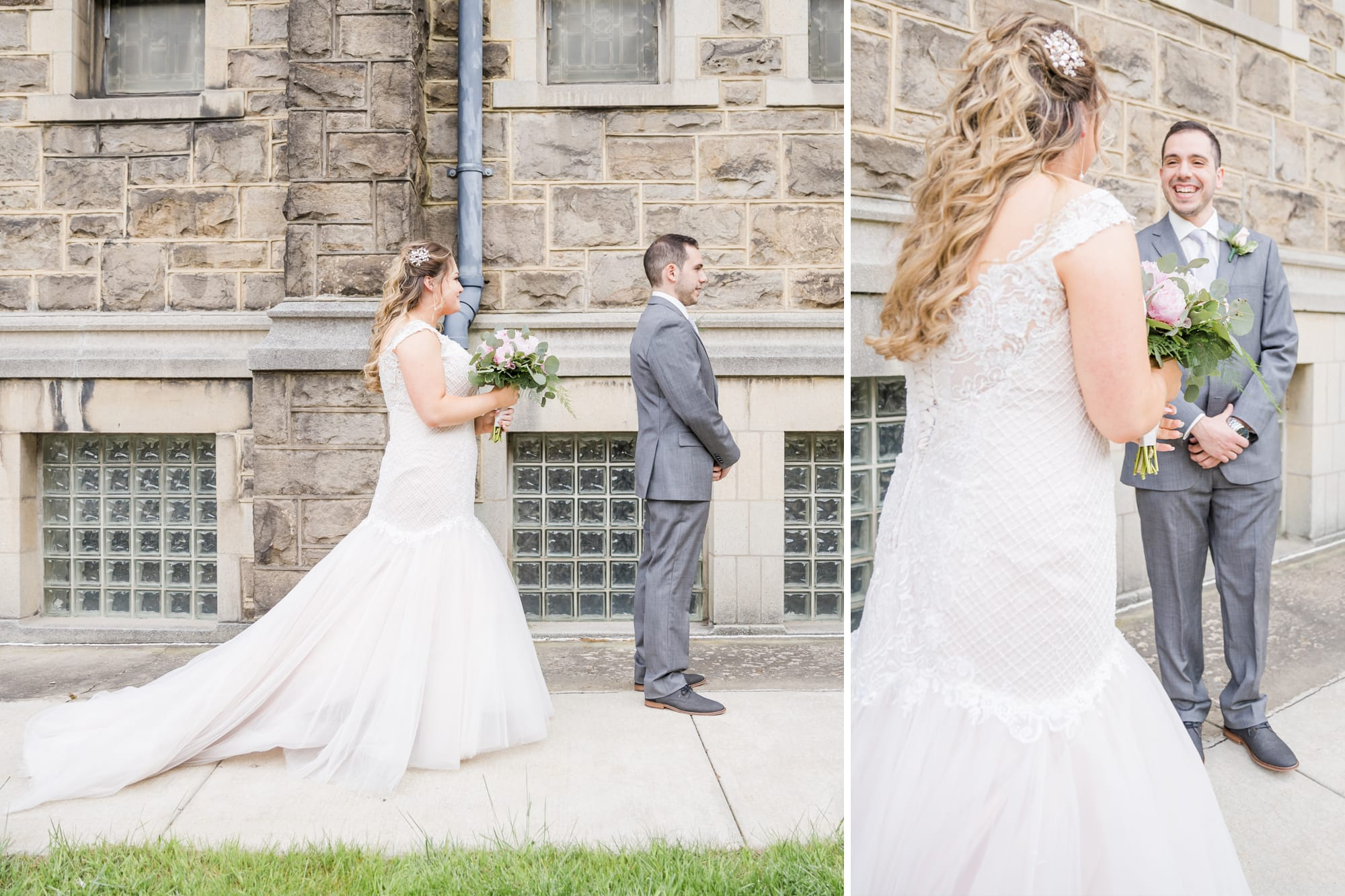 Central Pennsylvania PA summer wedding first look between bride and groom