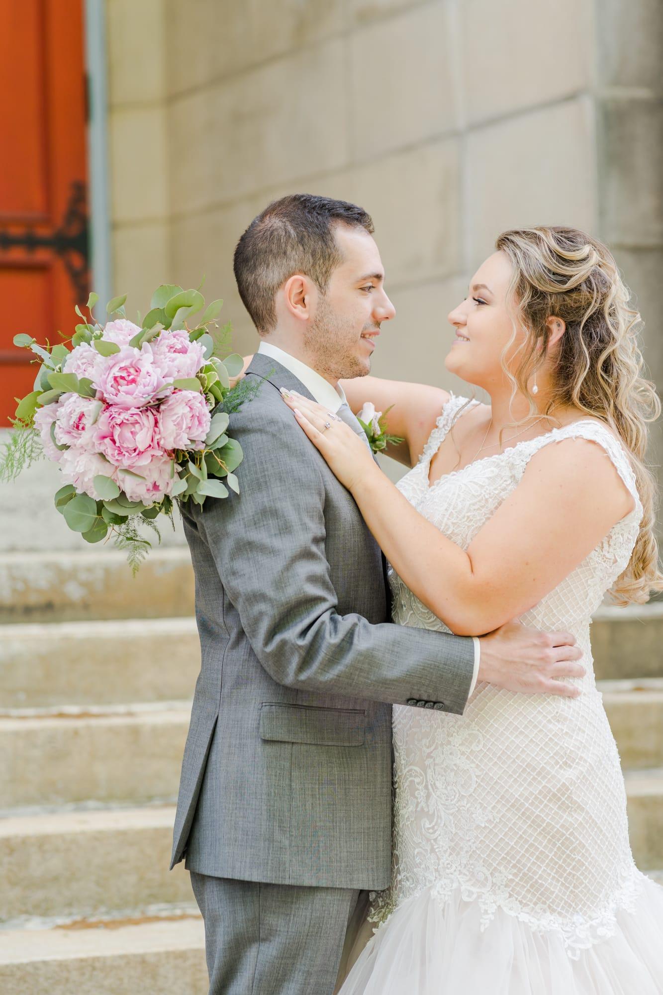 Central Pennsylvania PA summer wedding bride and groom portrait