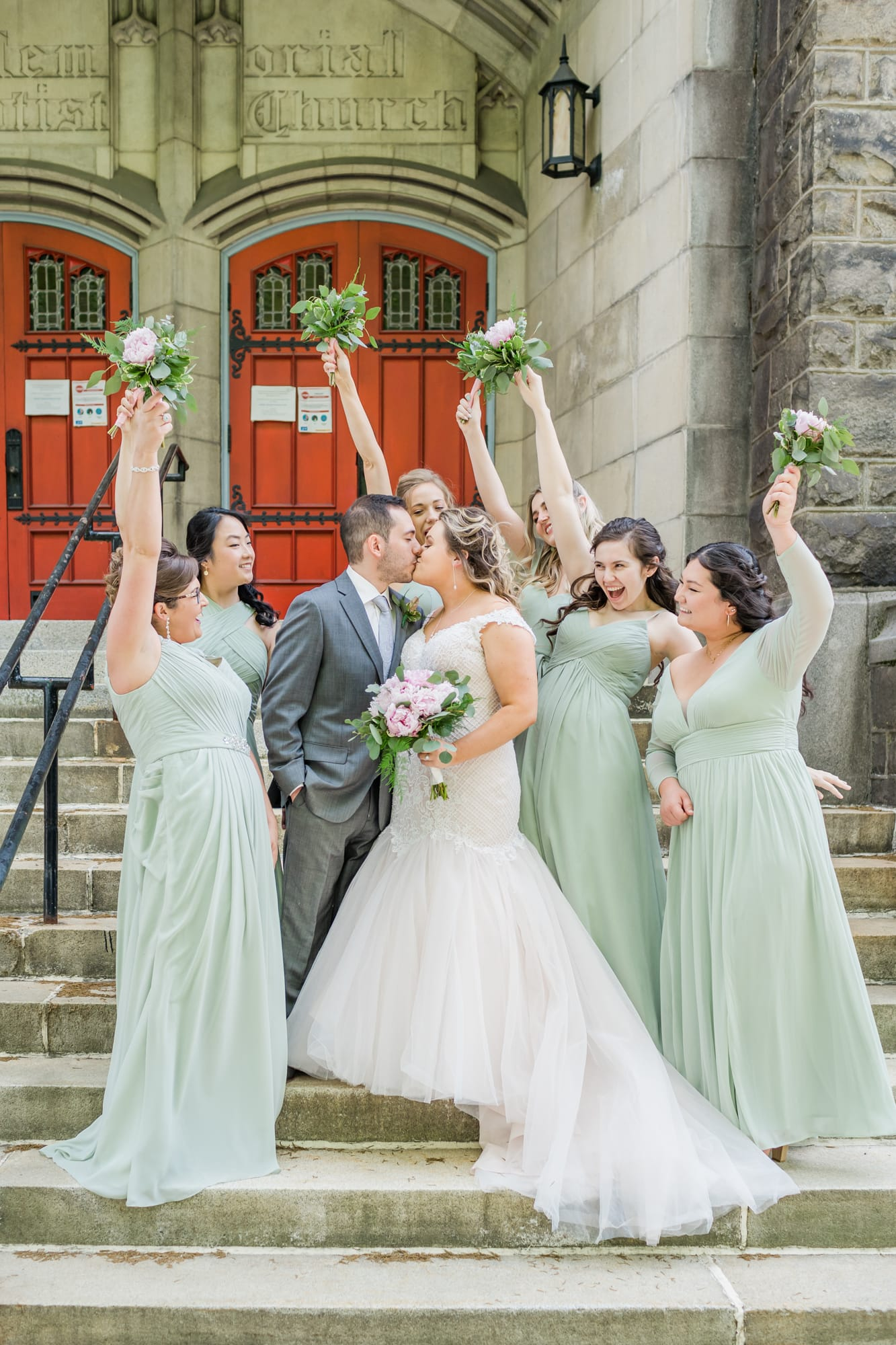Central Pennsylvania PA summer wedding bridal party cheering on bride and groom